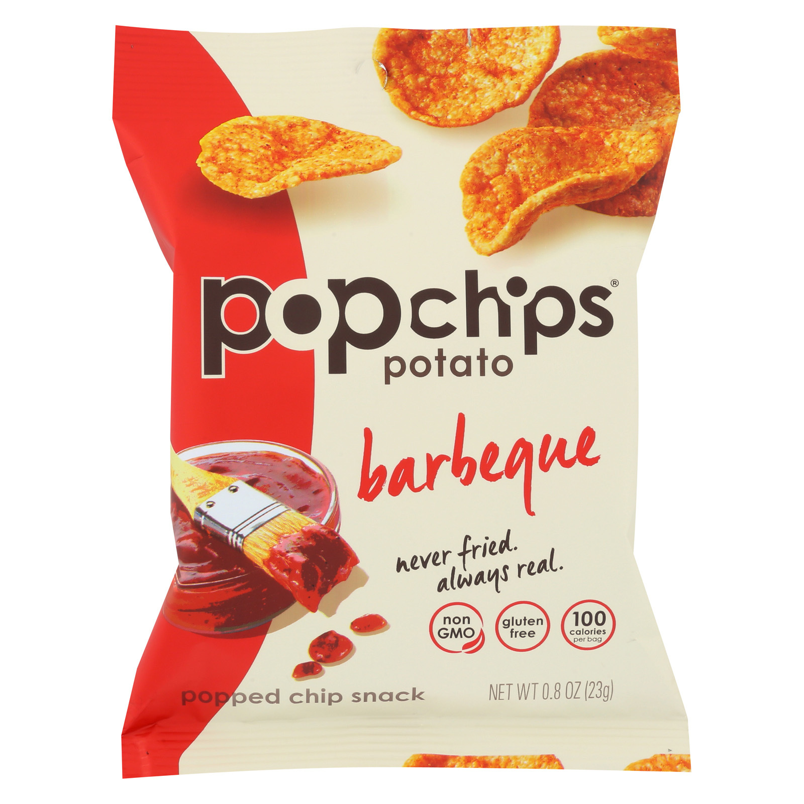 Popchips Potato Chip - Barbeque - Case of 24 - 0.8 oz.