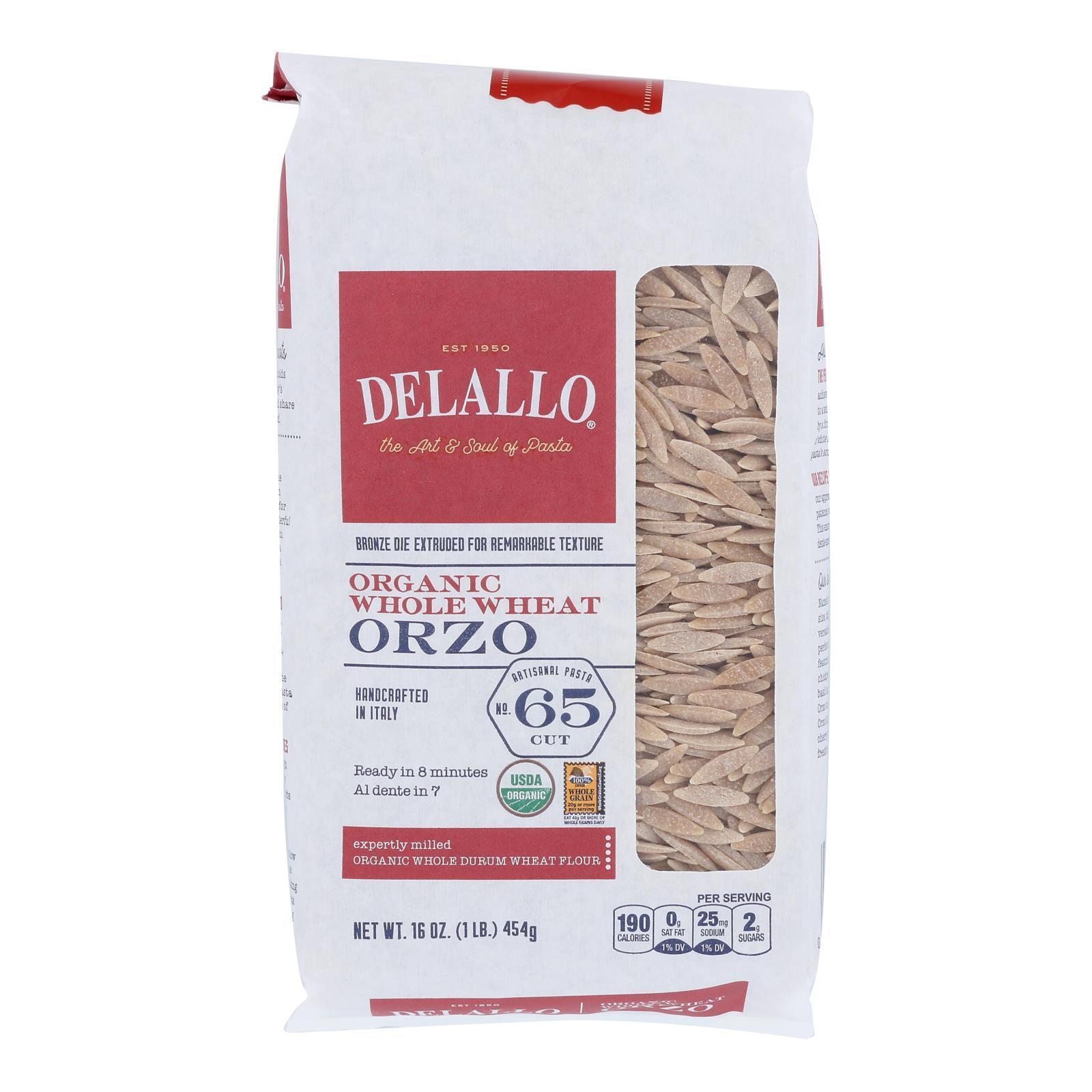 Delallo Organic Whole Wheat Orzo Pasta - Case of 16 - 16 oz.