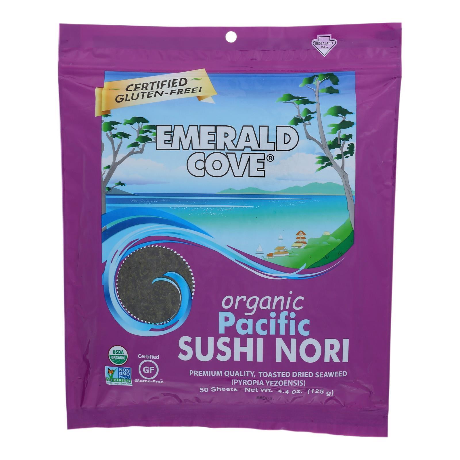 Emerald Cove Organic Pacific Sushi Nori - Toasted - Silver Grade - 50 Sheets - Case of 4