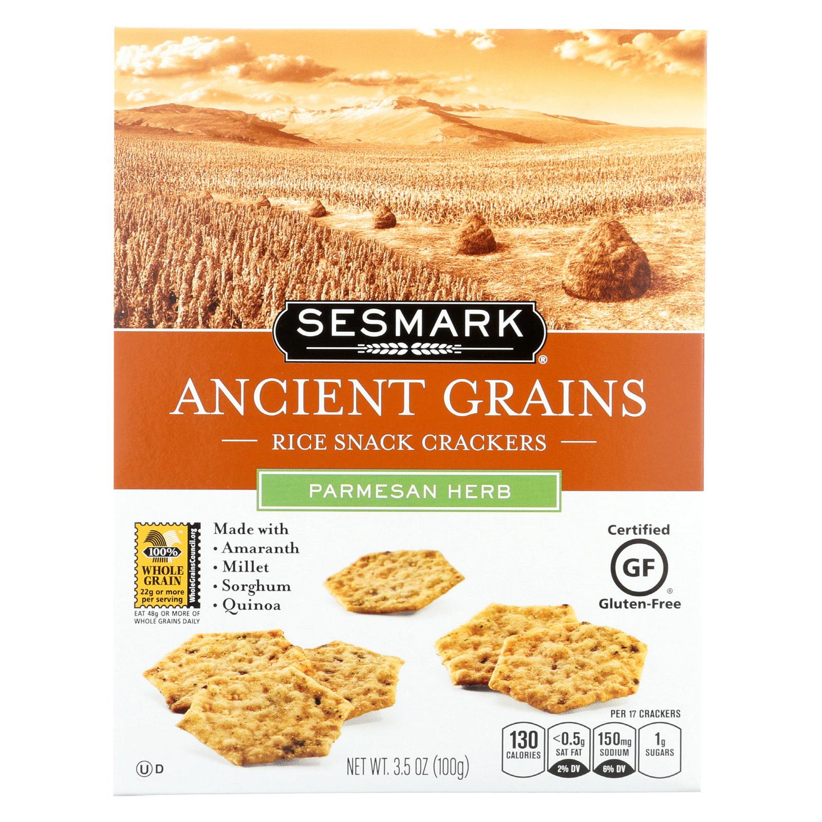 Sesmark Foods Ancient Grains Crackers - Parmesan - Case of 6 - 3.5 oz