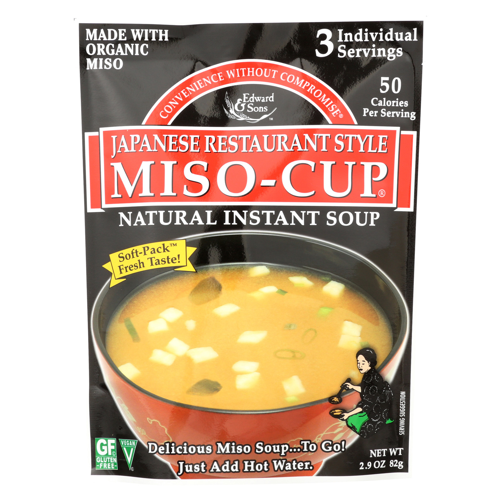 Edward and Sons Miso Cup Soup - Japanese Restaurant Style - Case of 6 - 2.9 oz.