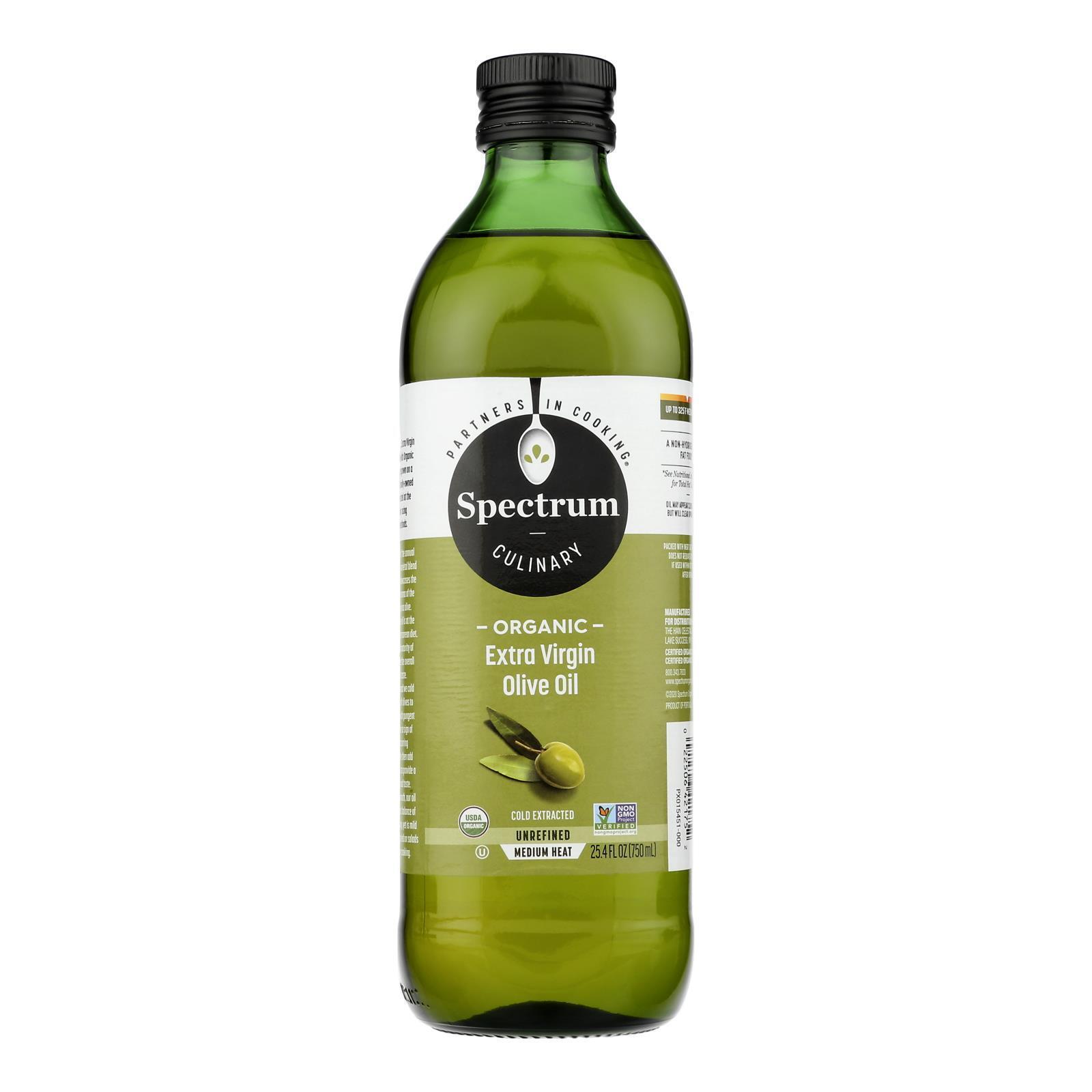 Spectrum Naturals Organic Unrefined Extra Virgin Olive Oil - Case of 6 - 25.4 Fl oz.