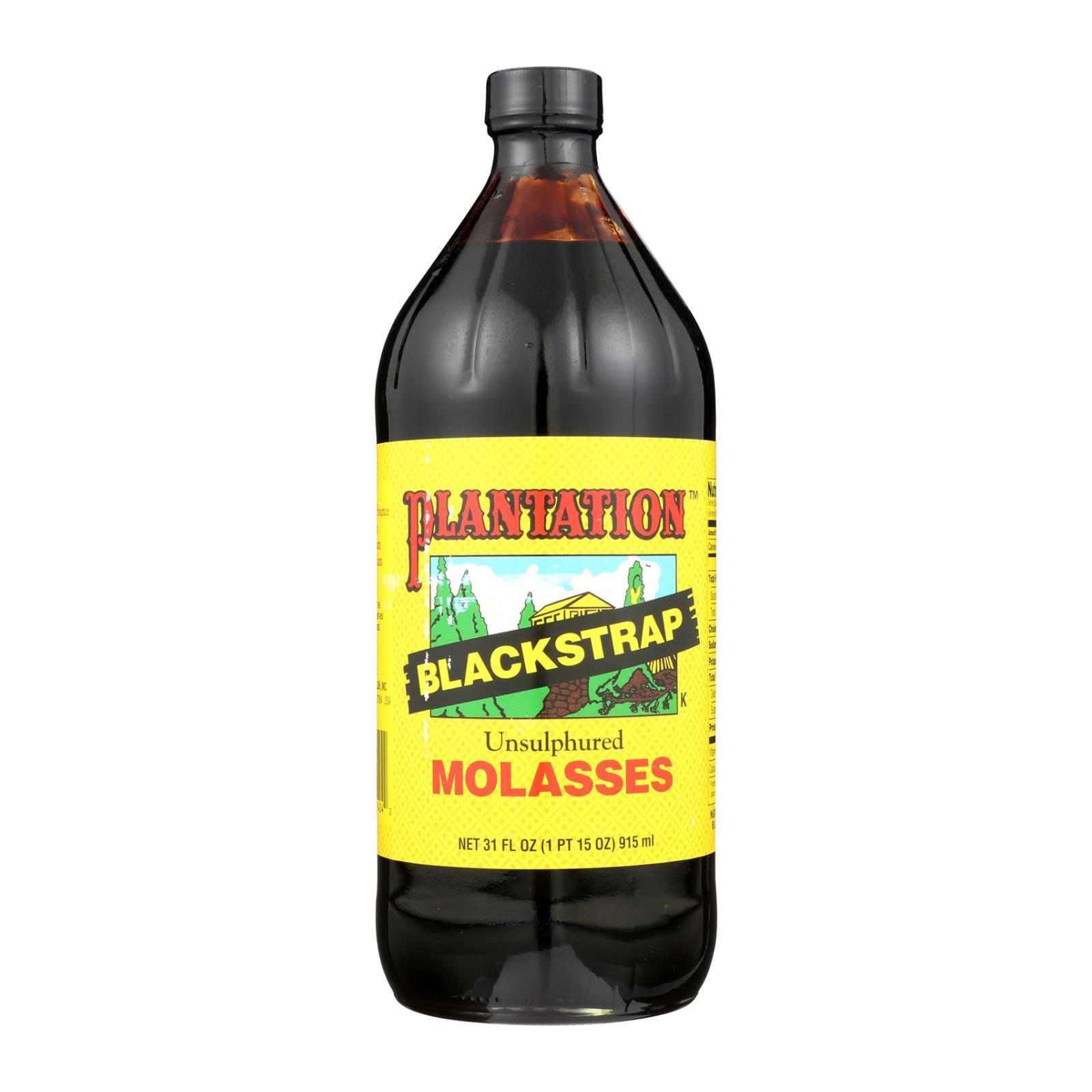 Plantation Blackstrap Molasses Syrup - Unsulphured - Case of 12 - 31 Fl oz.