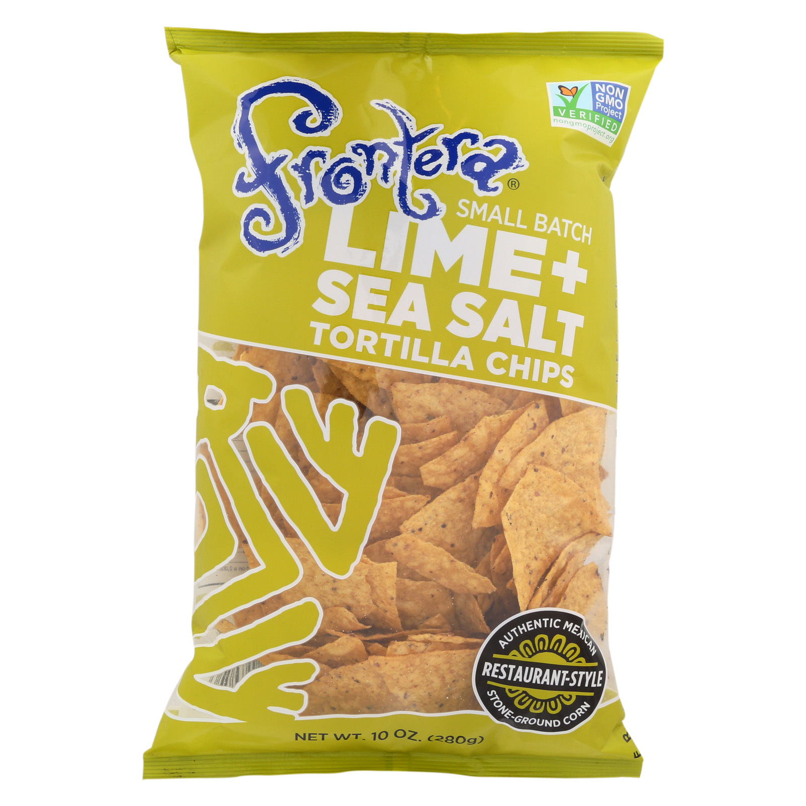 Frontera Foods Lime and Sea Salt Tortilla Chips - Tortilla Chips - Case of 12 - 10 oz.