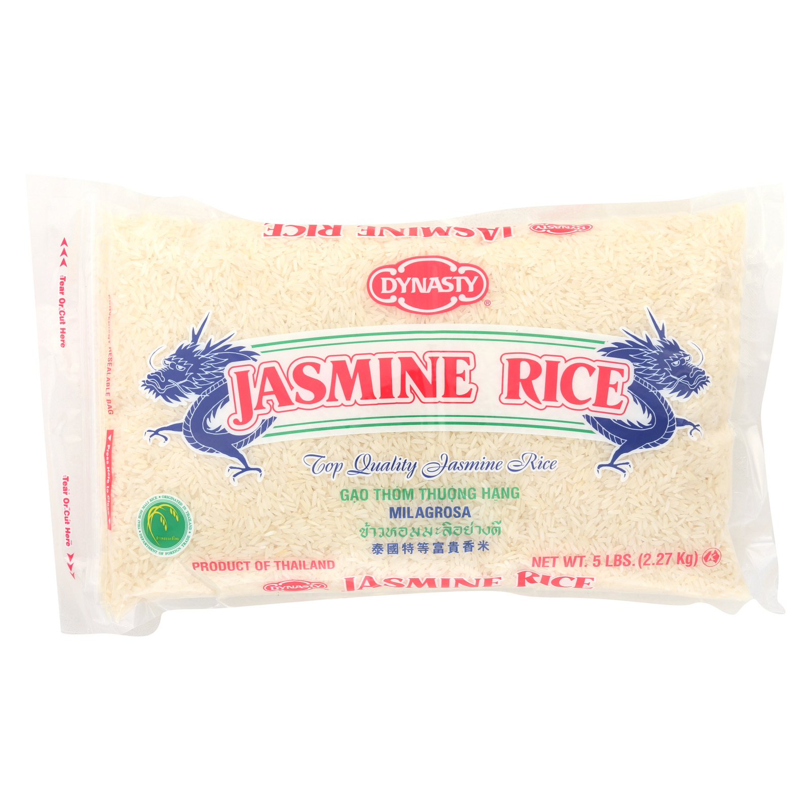 Dynasty Rice - Jasmine - Case of 6 - 5 lb.