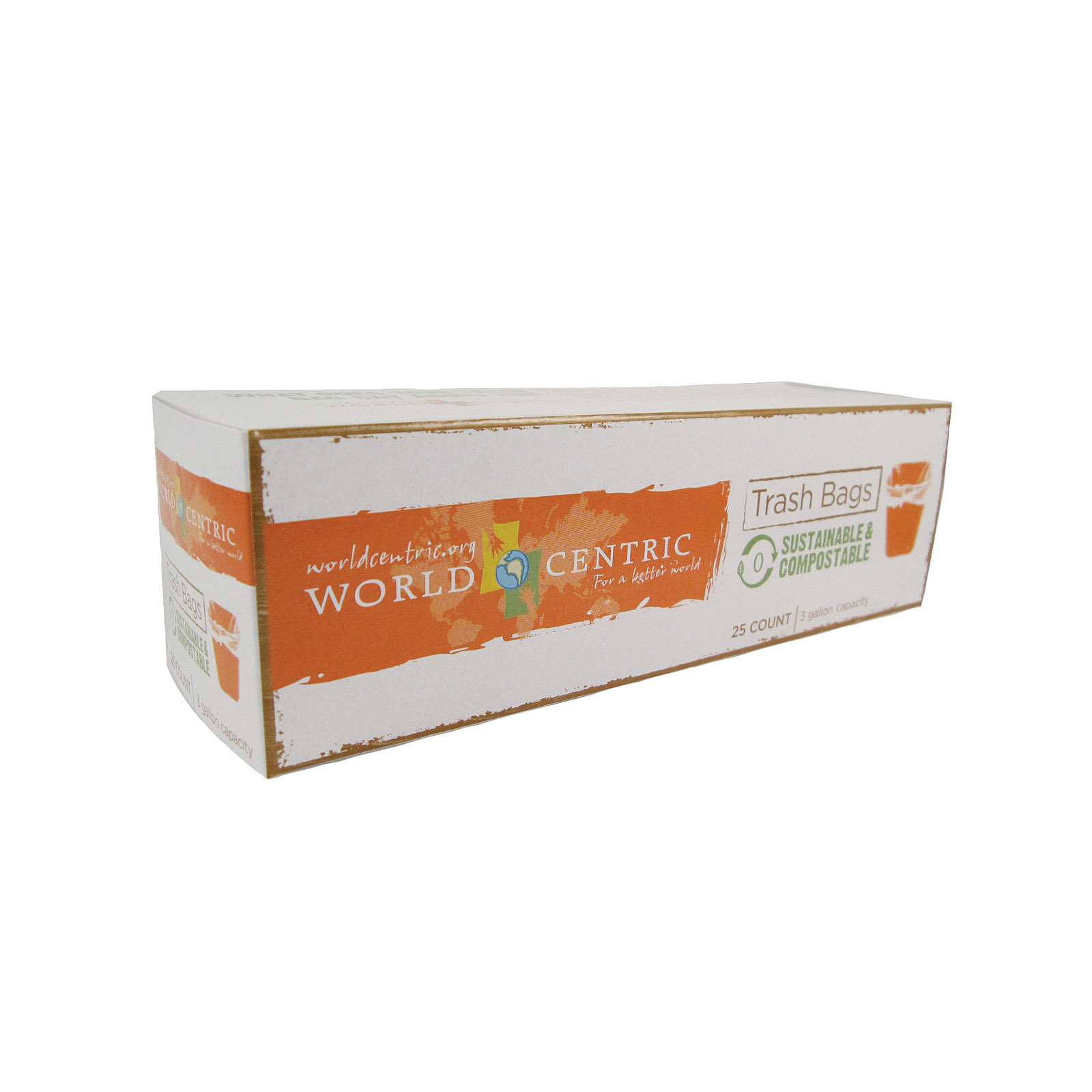 World Centric Compostable Waste Bag - Case of 12 - 3 Gal