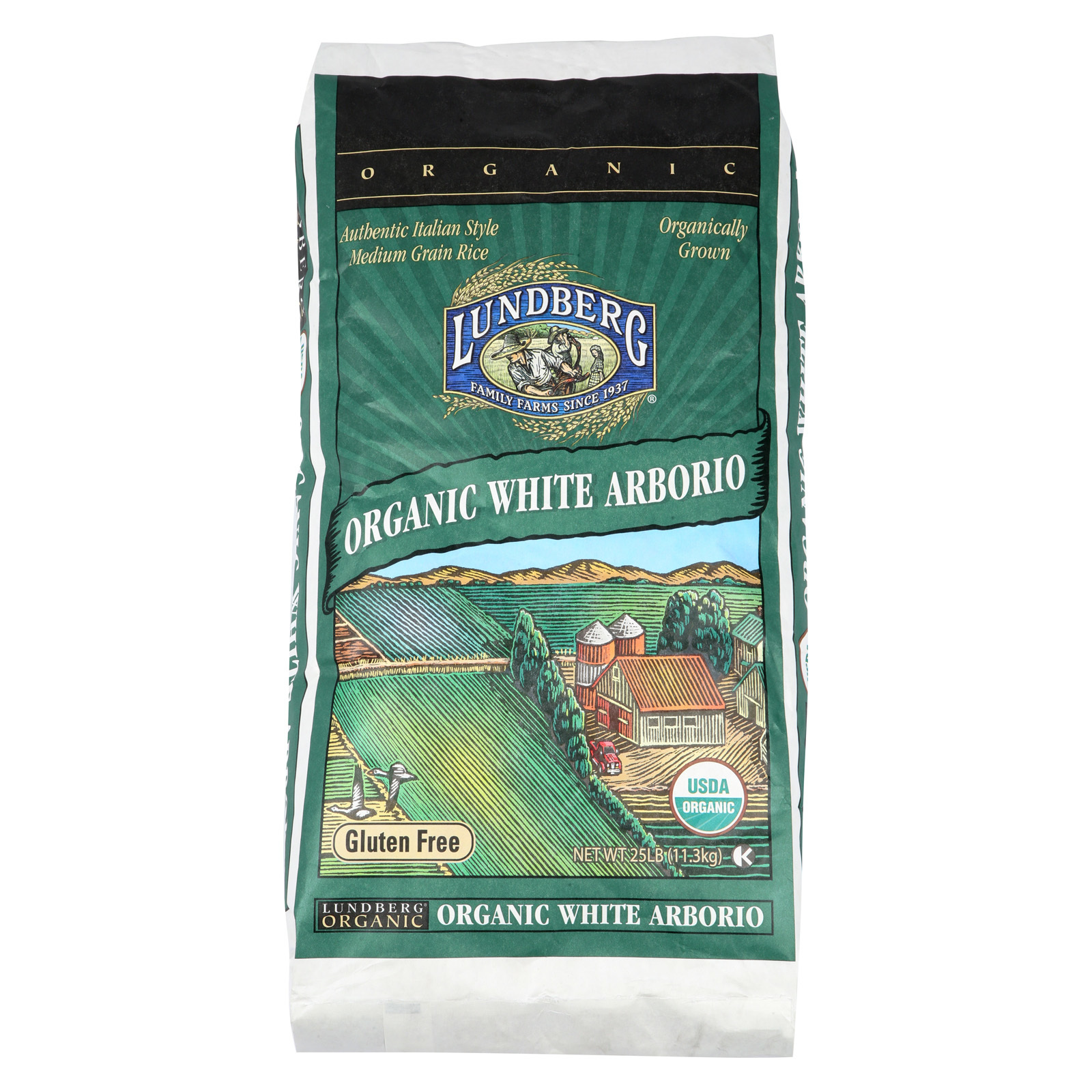 Lundberg Family Farms Organic California White Arborio Rice - Case of 25 - 1 lb.