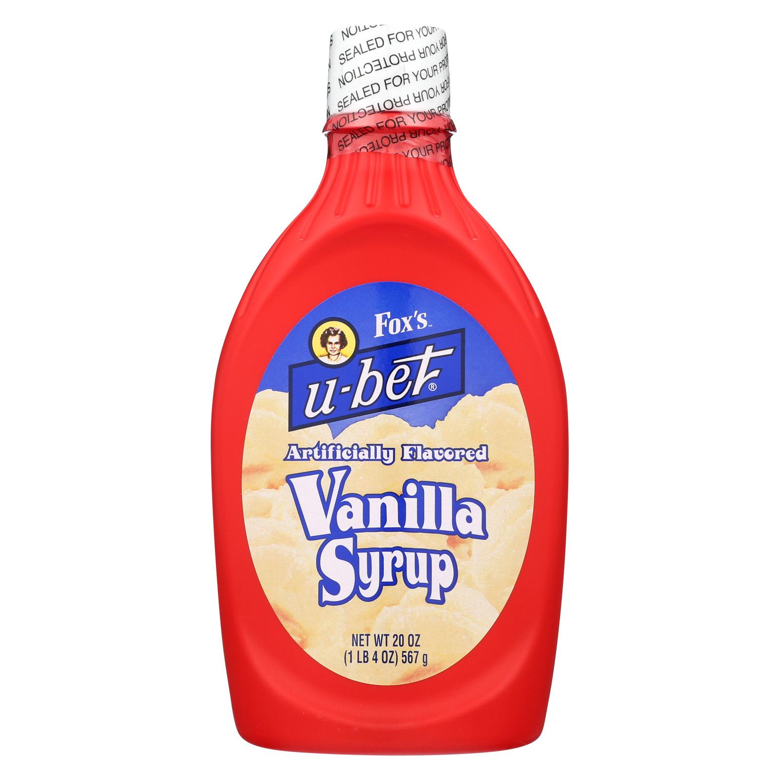 Fox's U - Bet Vanilla Syrup - Vanilla - Case of 12 - 20 oz.