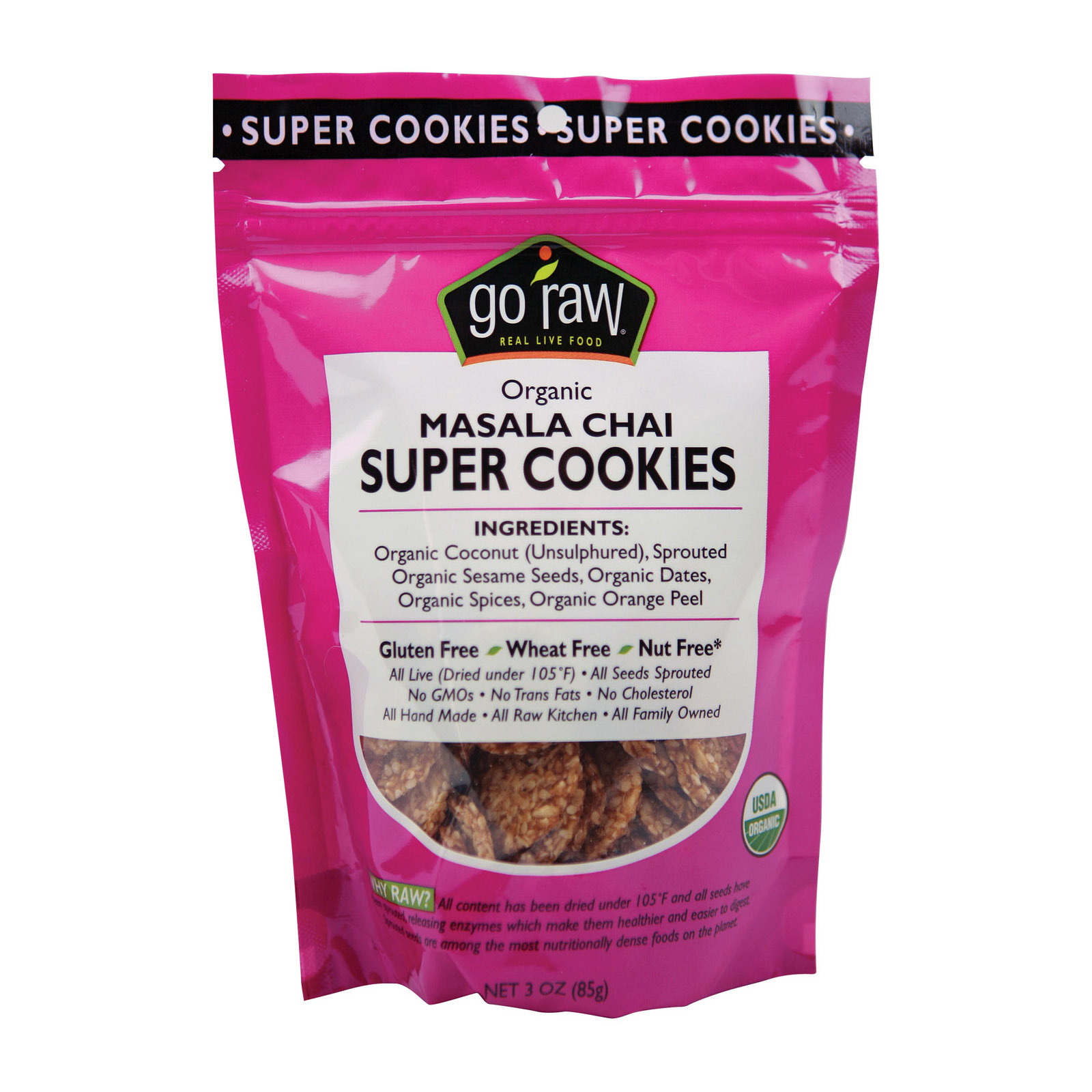 Go Raw Sprouted Cookies - Spiced Chai - Case of 12 - 3 oz.