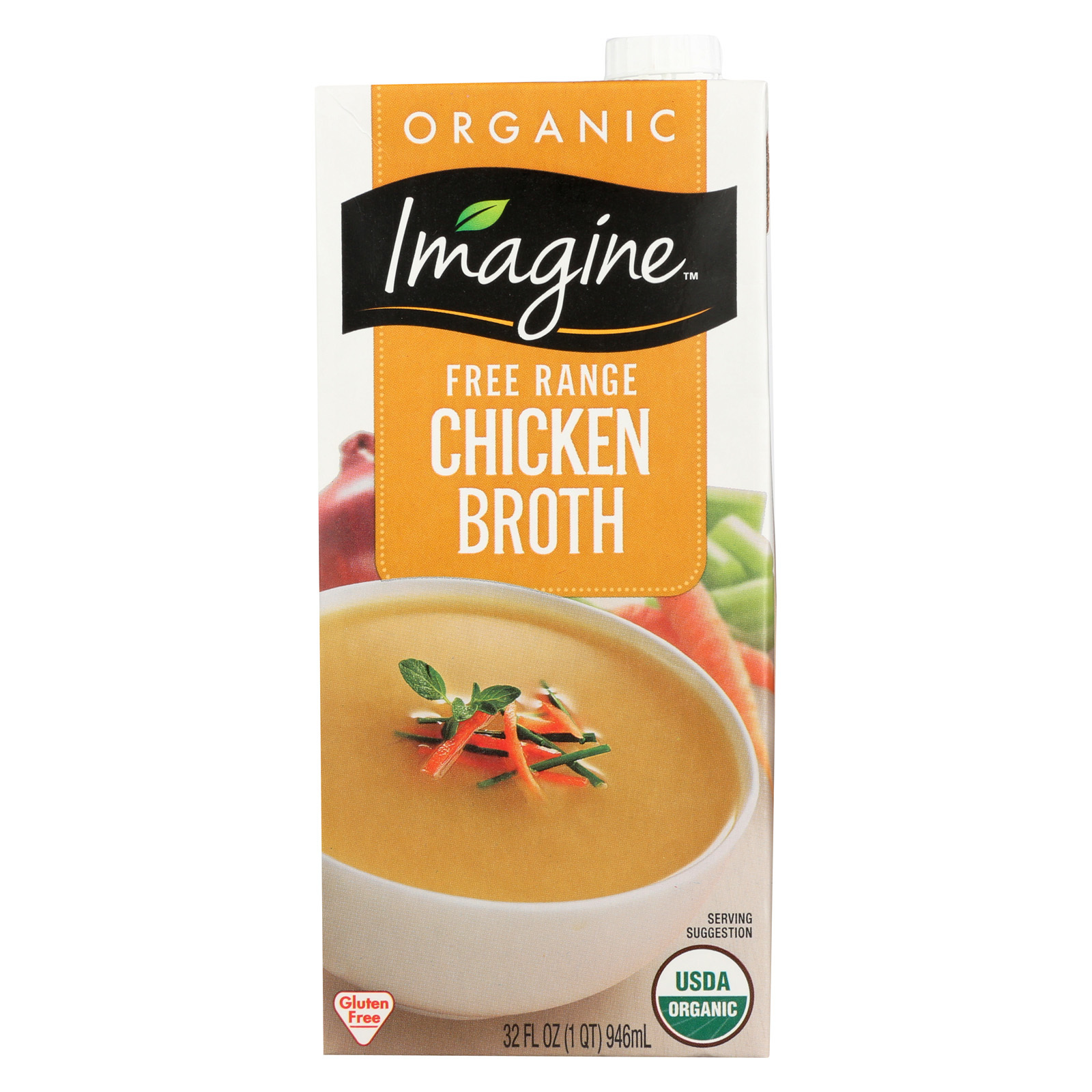 Imagine Foods Chicken Broth - Free Range - Case of 12 - 32 Fl oz.