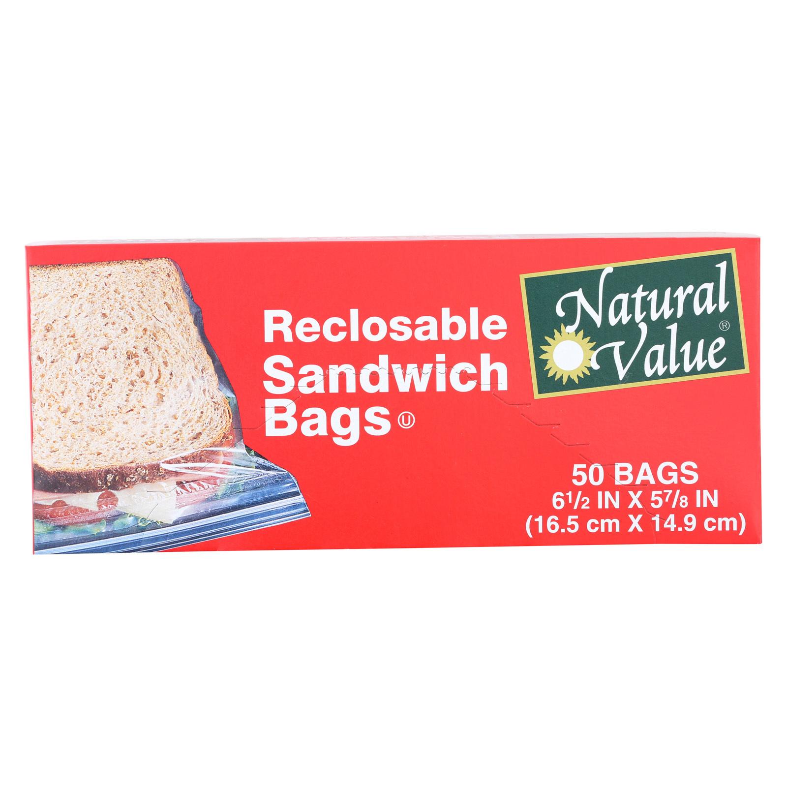 Natural Value Reclosable Sandwich Bags - Case of 12 - 50 Count