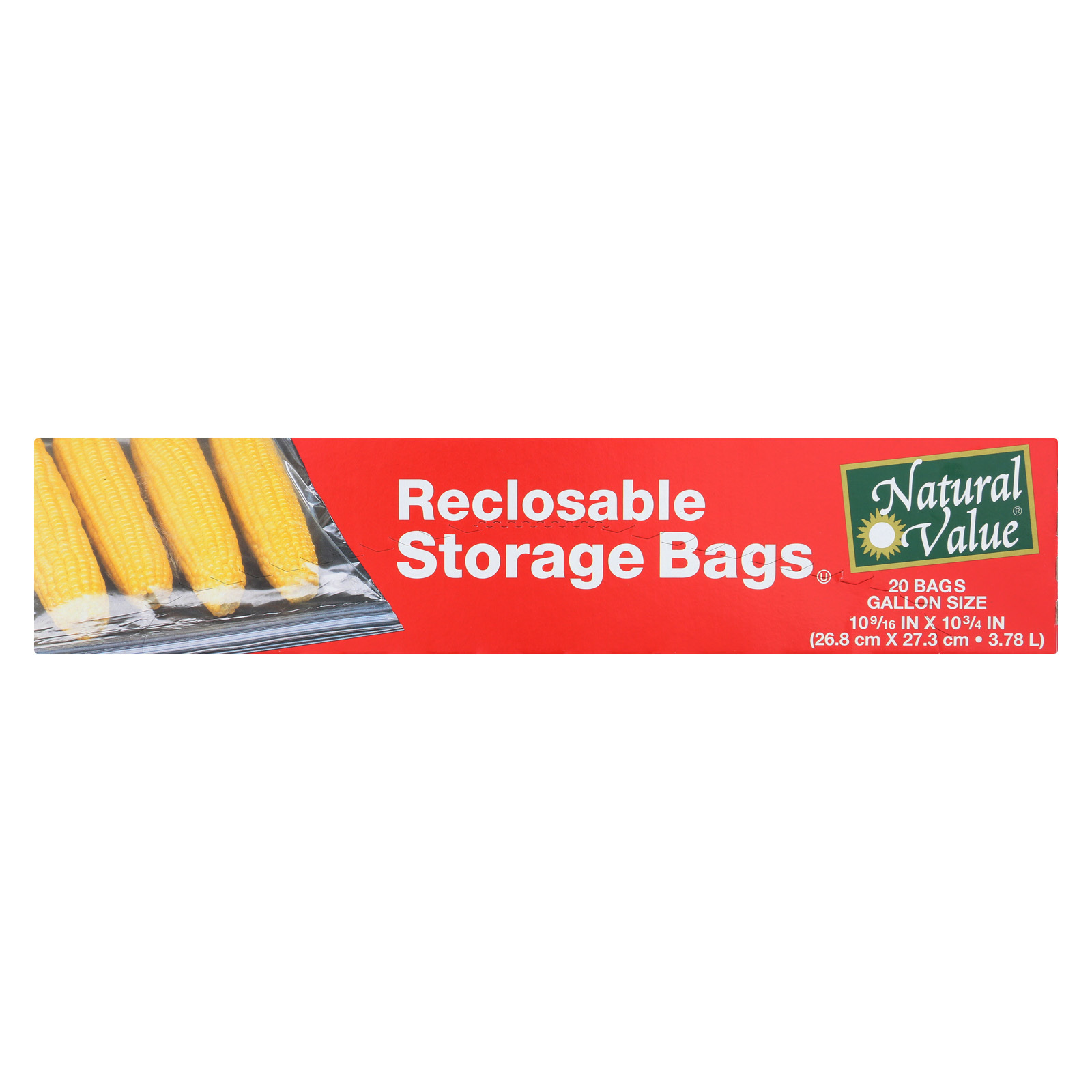 Natural Value Reclosable Storage Bags - Case of 12 - 20 Count