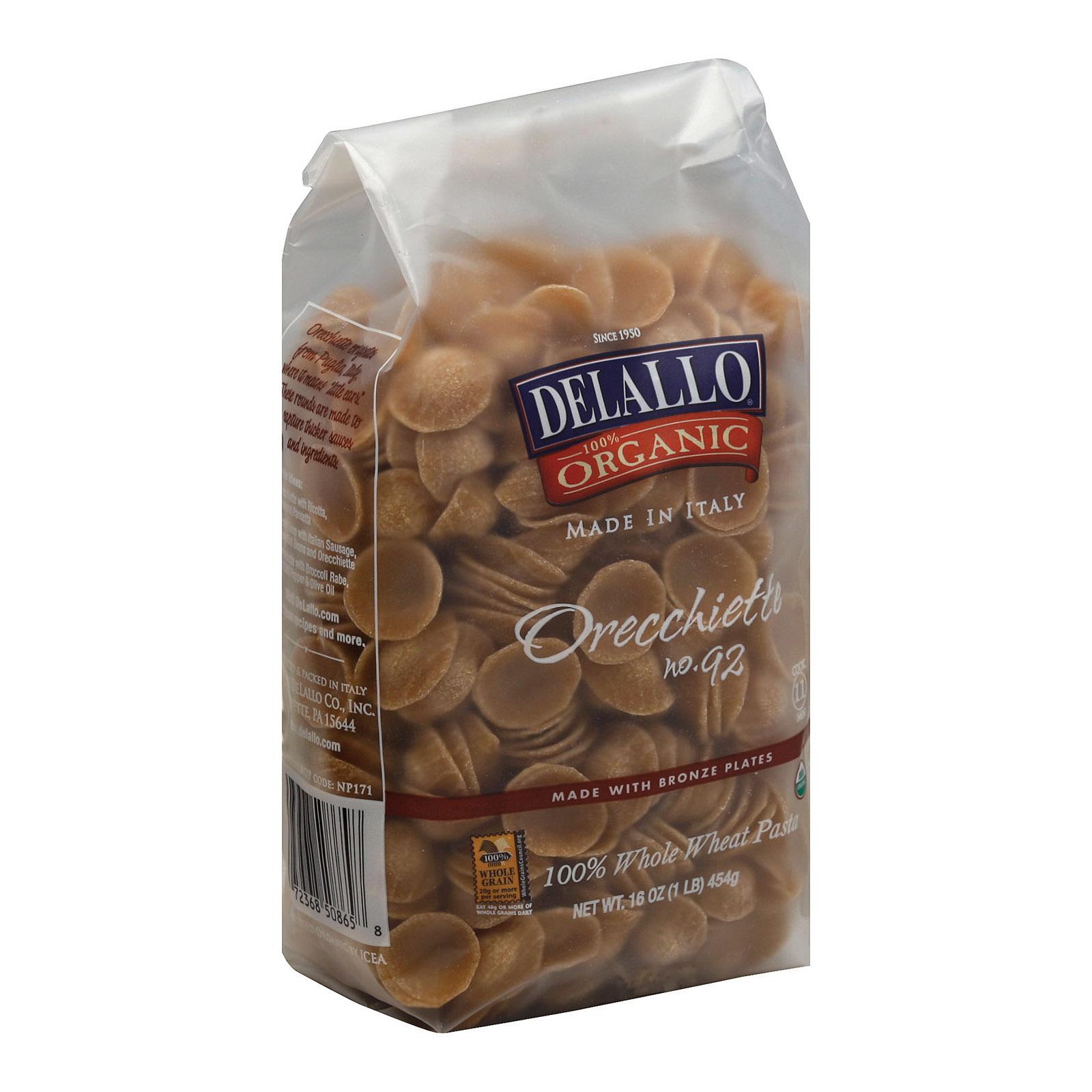Delallo Organic Whole Wheat Orecchiette Pasta - Case of 16 - 1 lb.