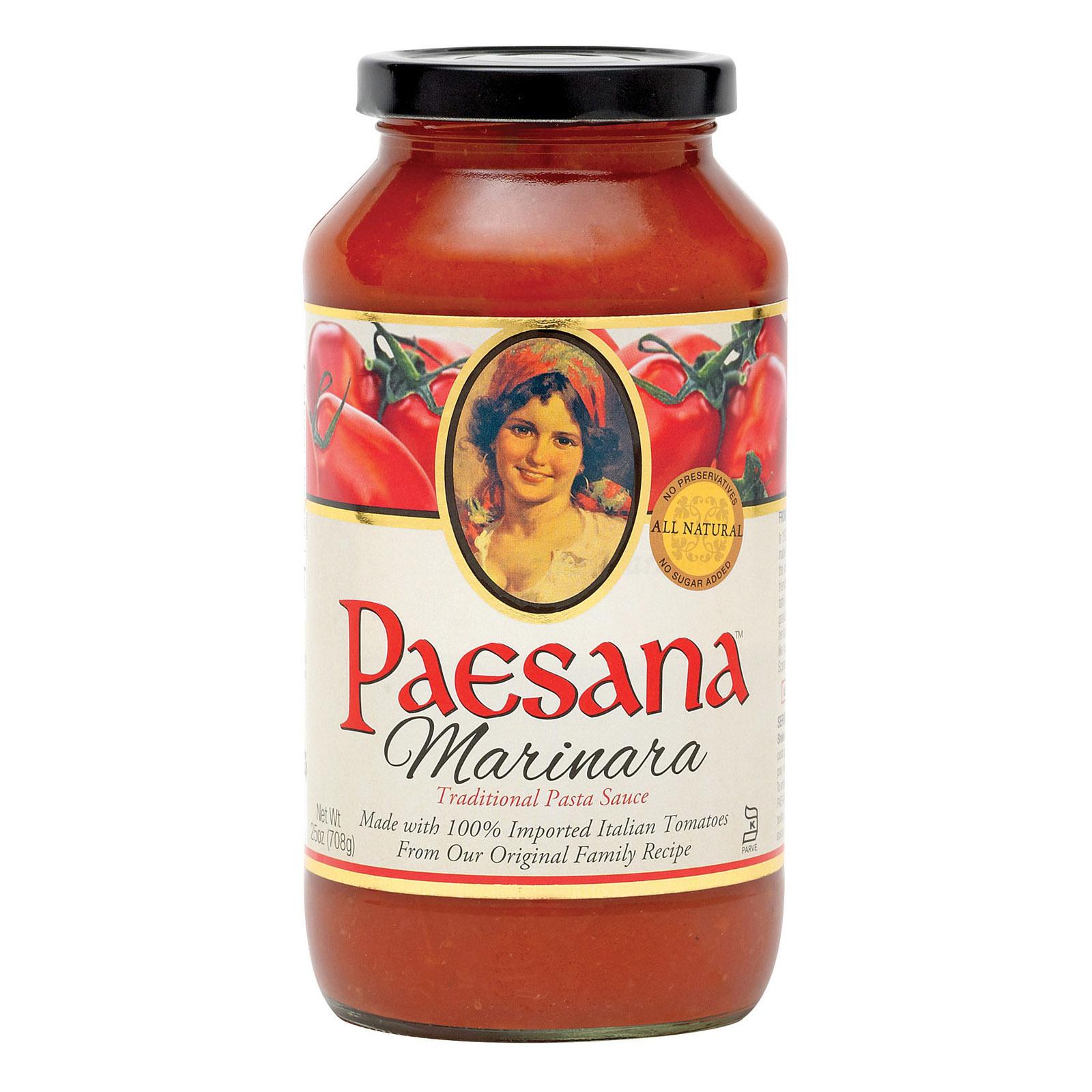 Paesana Traditional Pasta Sauce - Marinara - Case of 6 - 25 Fl oz.