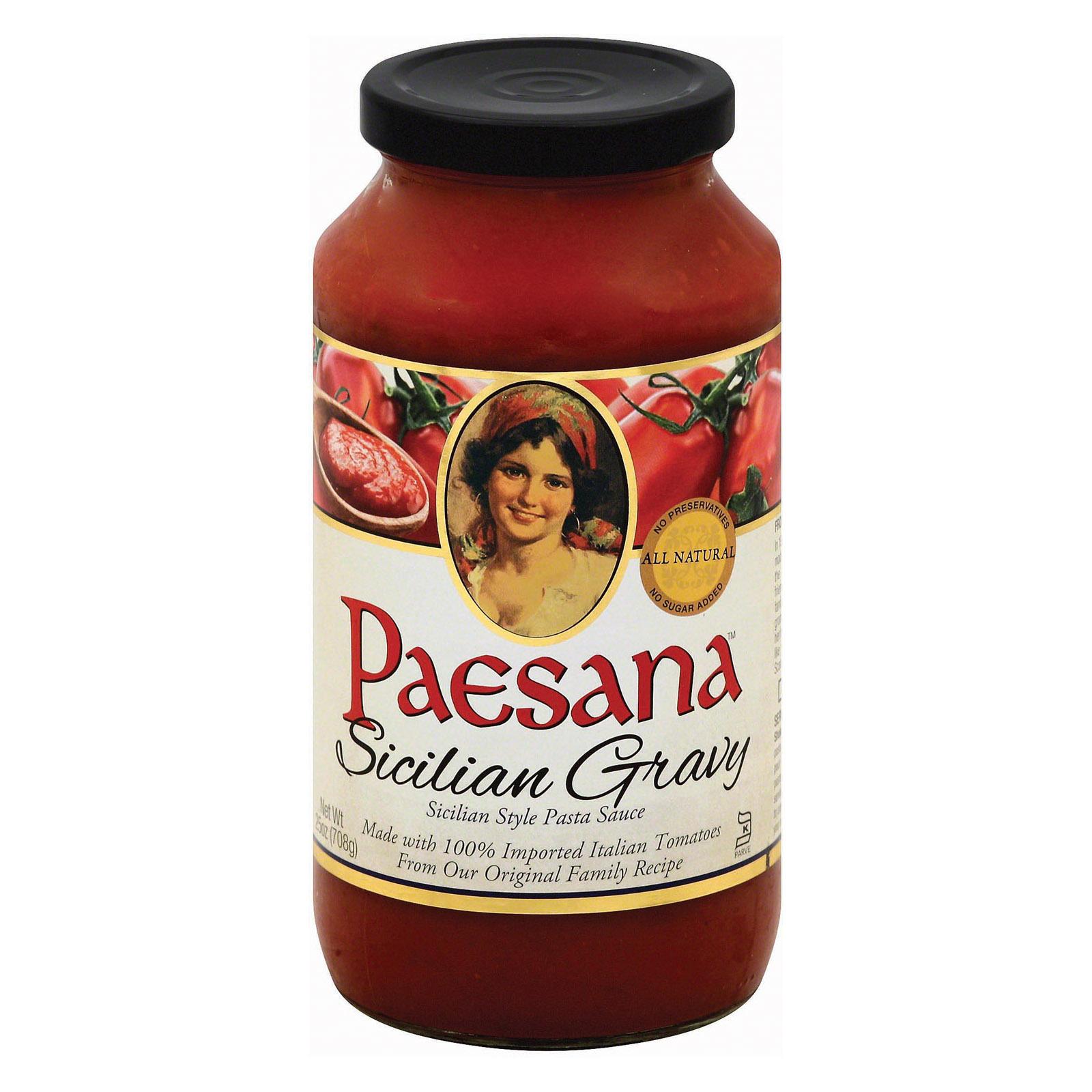 Paesana Sicilian Gravy Sauce - Tomato - Case of 6 - 25 Fl oz.