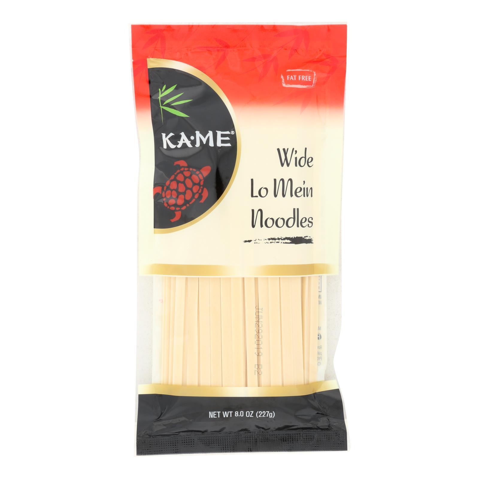 Ka'Me Wide Lo Mein Noodles - Case of 12 - 8 oz.