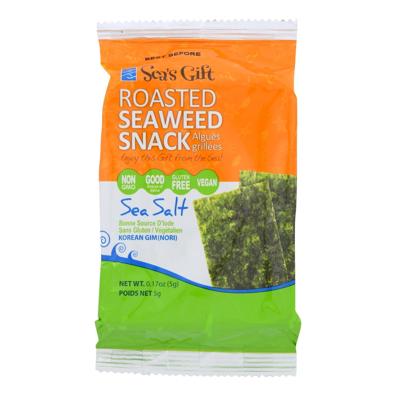 Sea's Gift Seaweed Snack - Roasted and Sea Salt - Case of 24 - 0.17 oz.