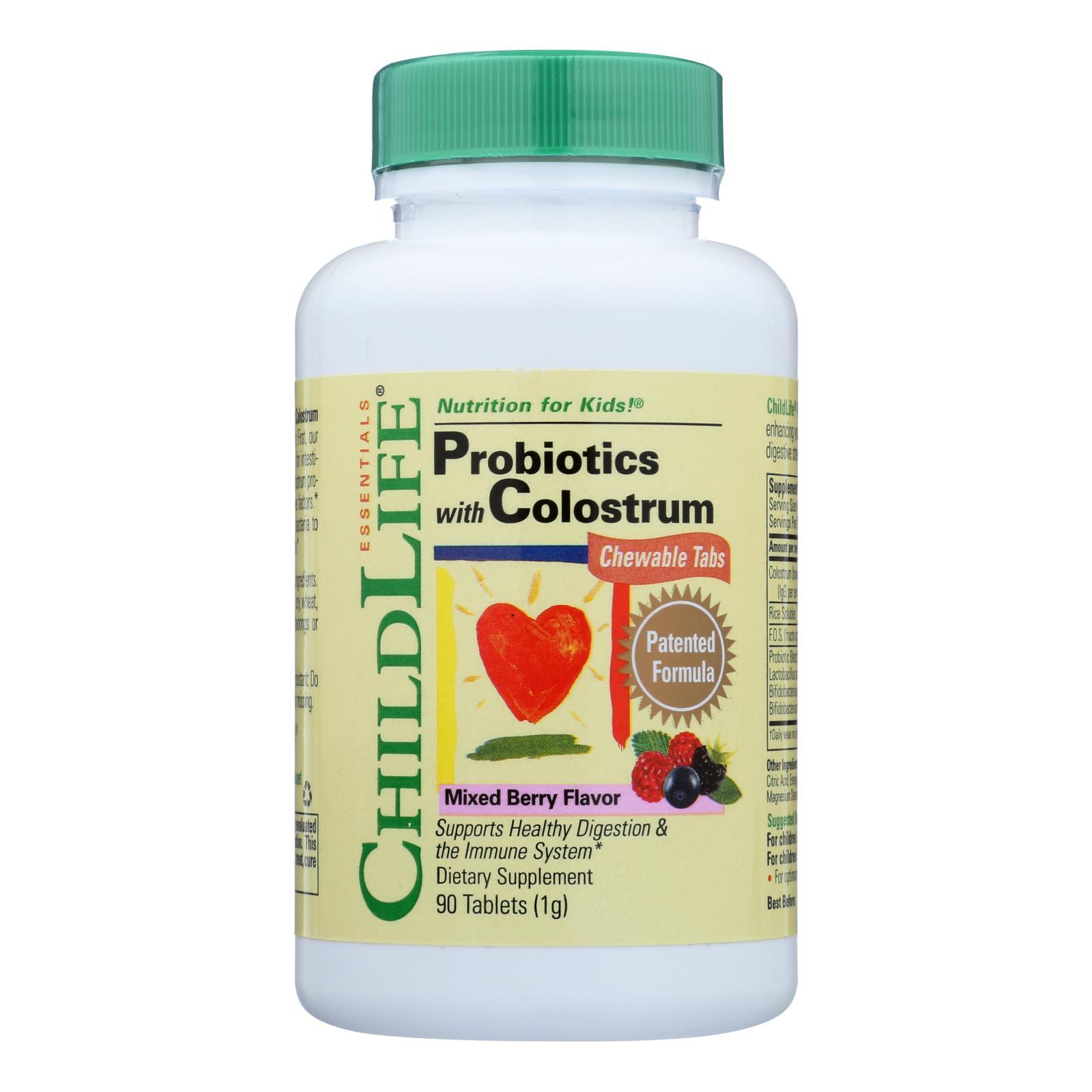 Childlife Probiotics Plus Colostrum Mixed Berry - 90 Chewable Tablets