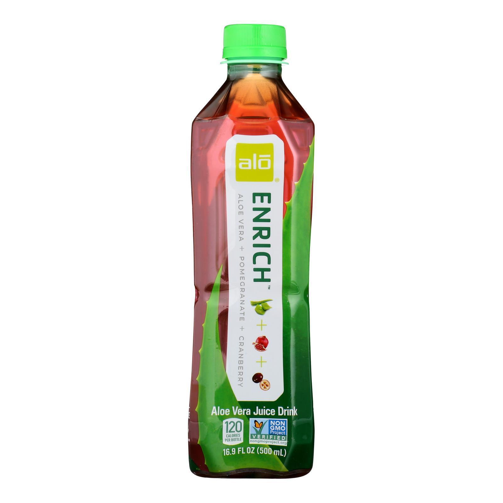 Alo Original Enrich Aloe Vera Juice Drink - Pomegranate and Cranberry - Case of 12 - 16.9 fl oz.