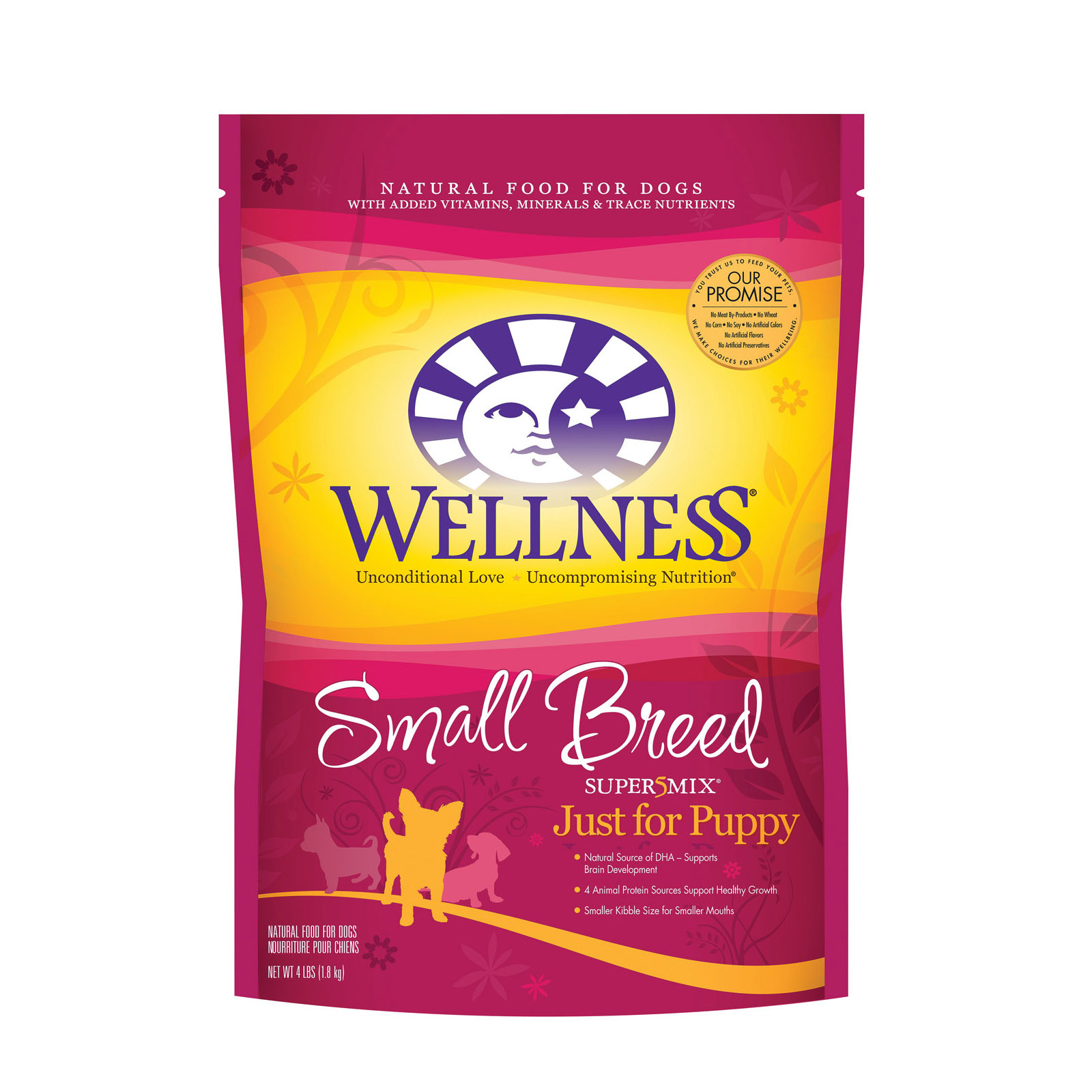 Wellness Pet Products Dog Food - Turkey - Oatmeal and Salmon Meal Recipe - Case of 6 - 4 lb.