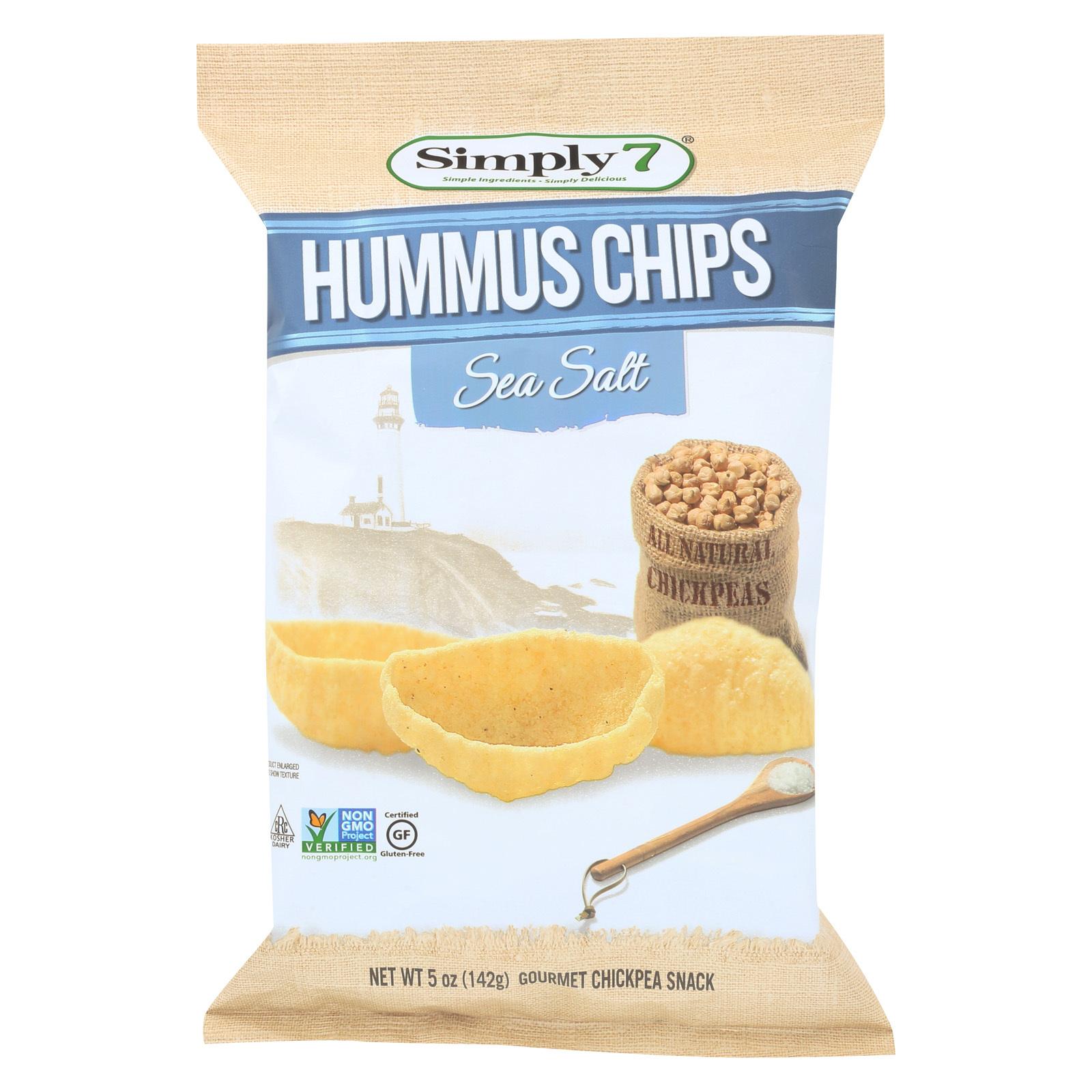 Simply 7 Hummus Chips - Sea Salt - Case of 12 - 5 oz.