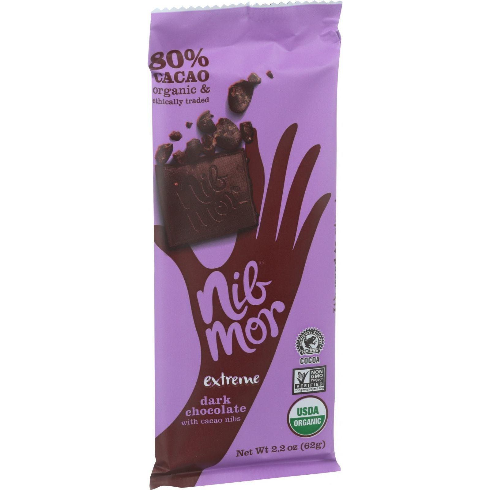 NibMor Organic Dark Chocolate Bars - Extreme with Cocoa Nibs - 2.2 oz Bars - Case of 12