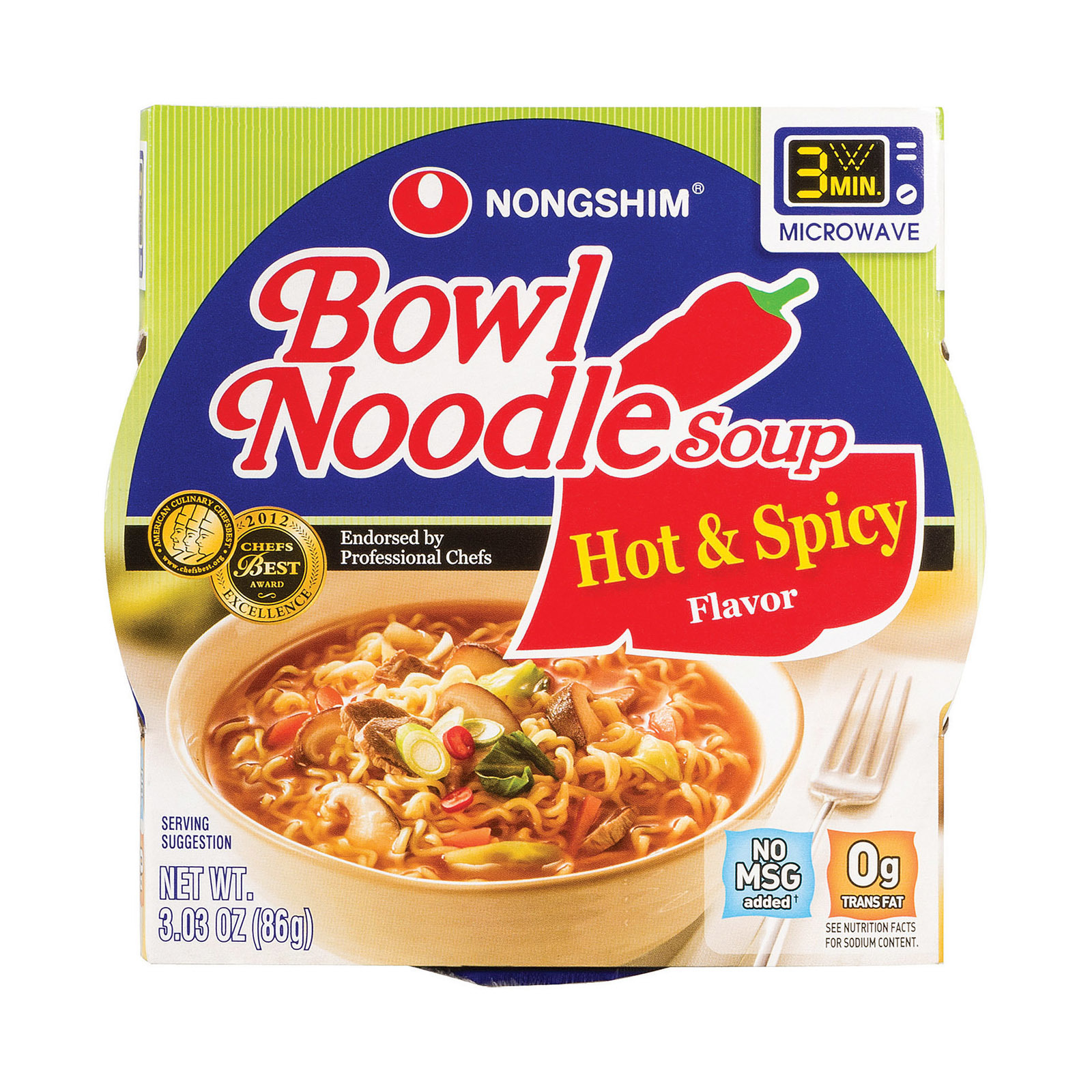 Nong Shim Hot and Spicy Bowl - Noodle - 3.03 oz.