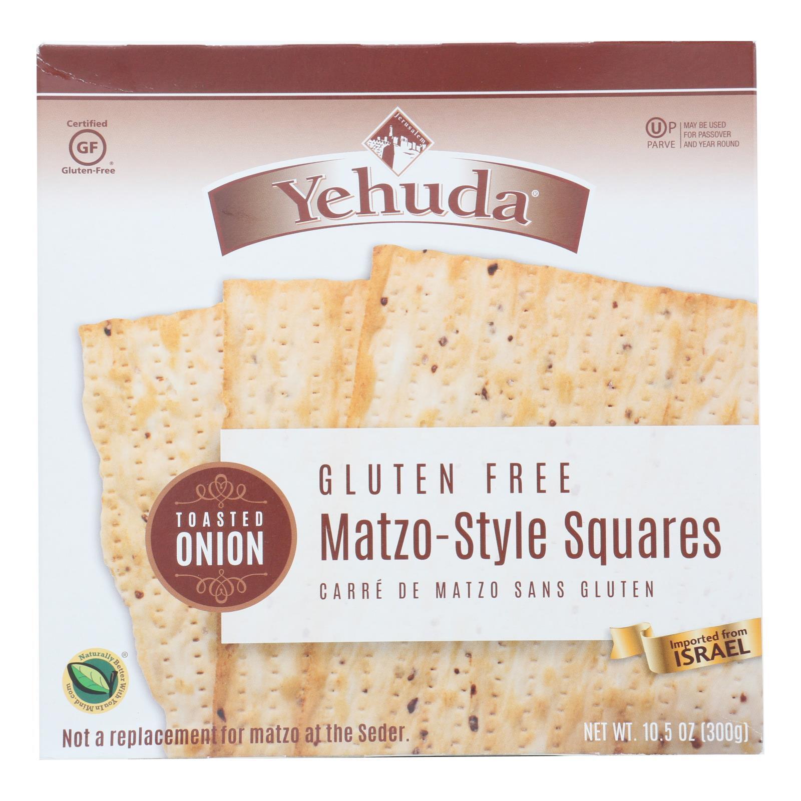 Yehuda Matzo Squares - Toasted Onion - Gluten Free - Case of 12 - 10.5 oz
