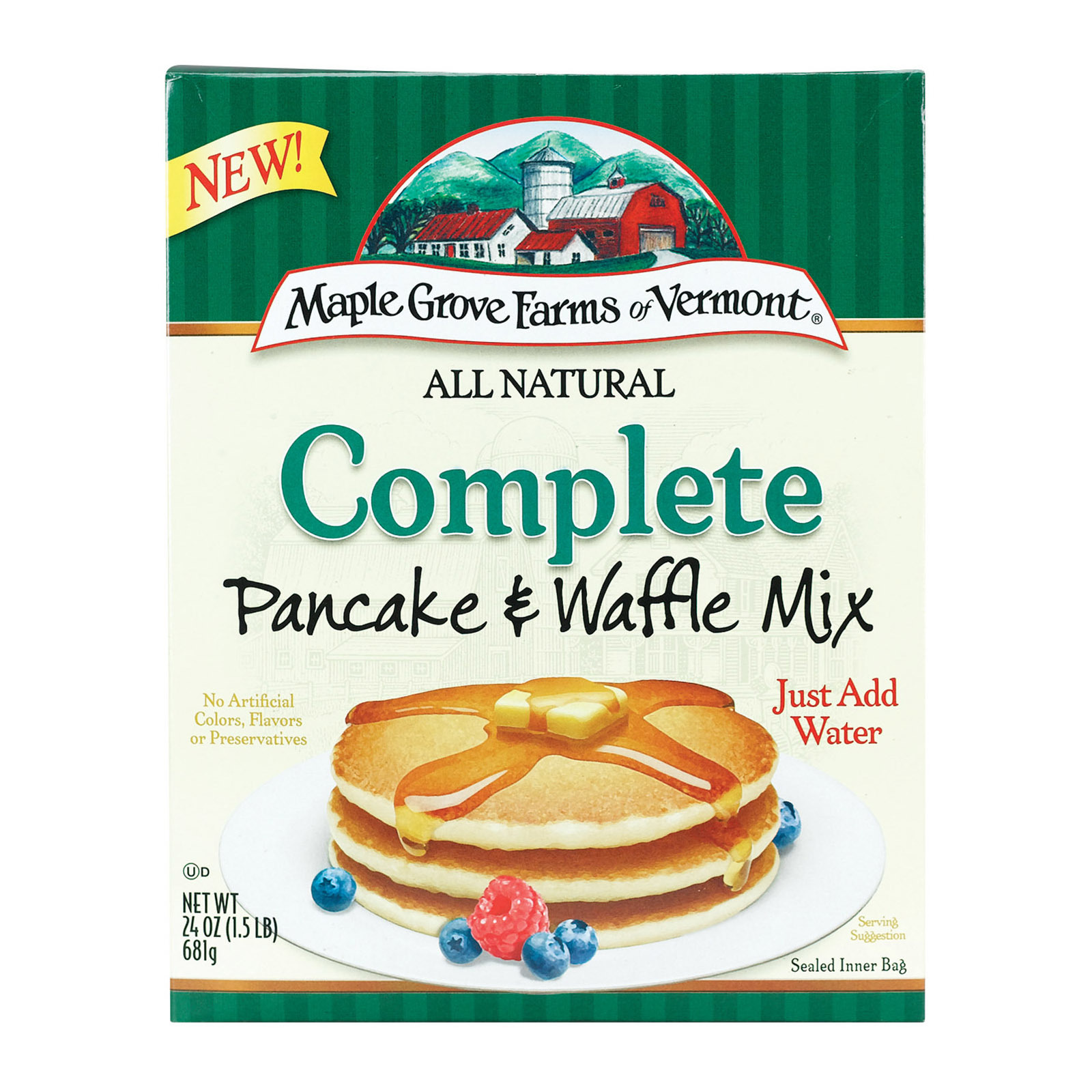 Maple Grove Farms Pancake and Waffle Mix - Case of 6 - 24 oz.