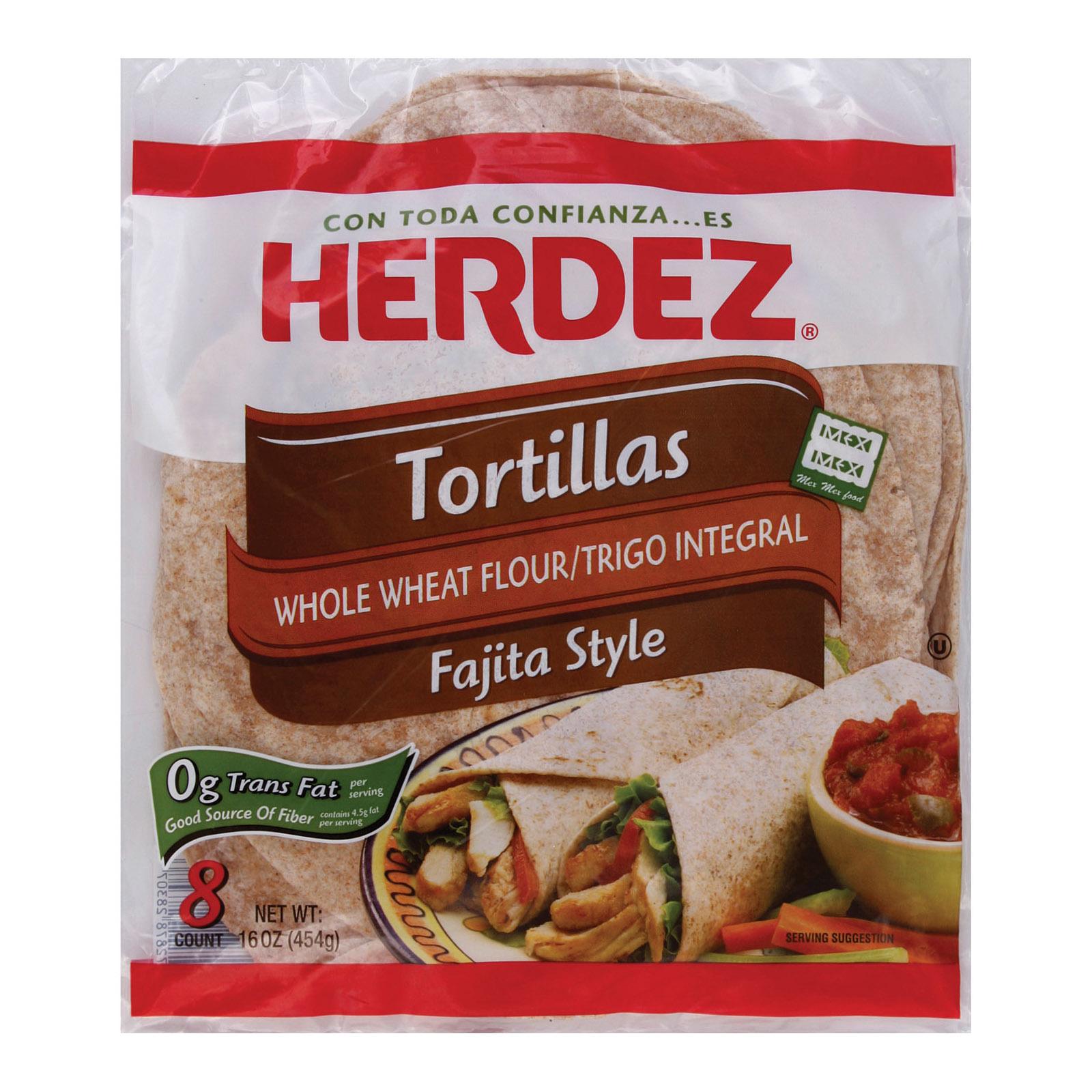 Herdez Tortillas Flour - Fajita Style, Whole Wheat - Case of 12 - 16 oz.