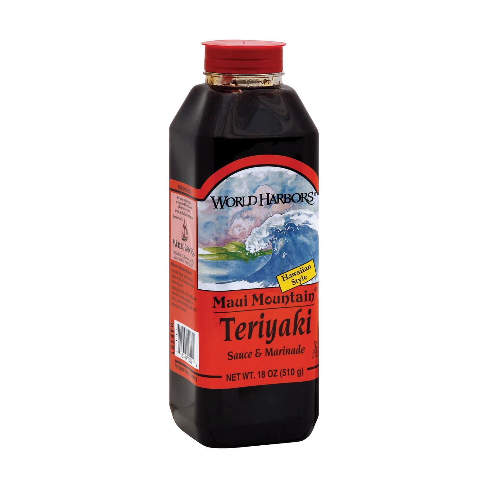 World Harbor Maui Mountain Teriyaki Marinade and Sauce - Case of 6 - 16 Fl oz.