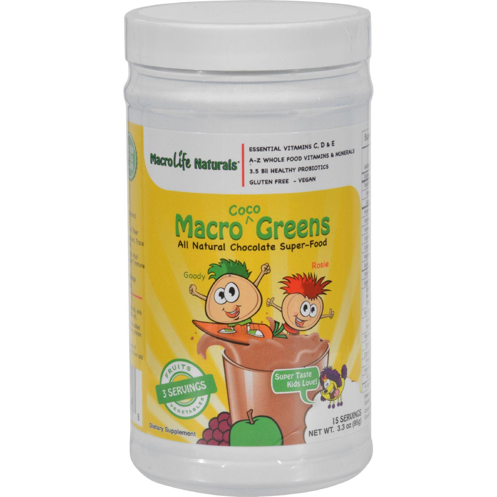 MacroLife Naturals Jr. Macro Coco-Greens for Kids Chocolate - 3.3 oz