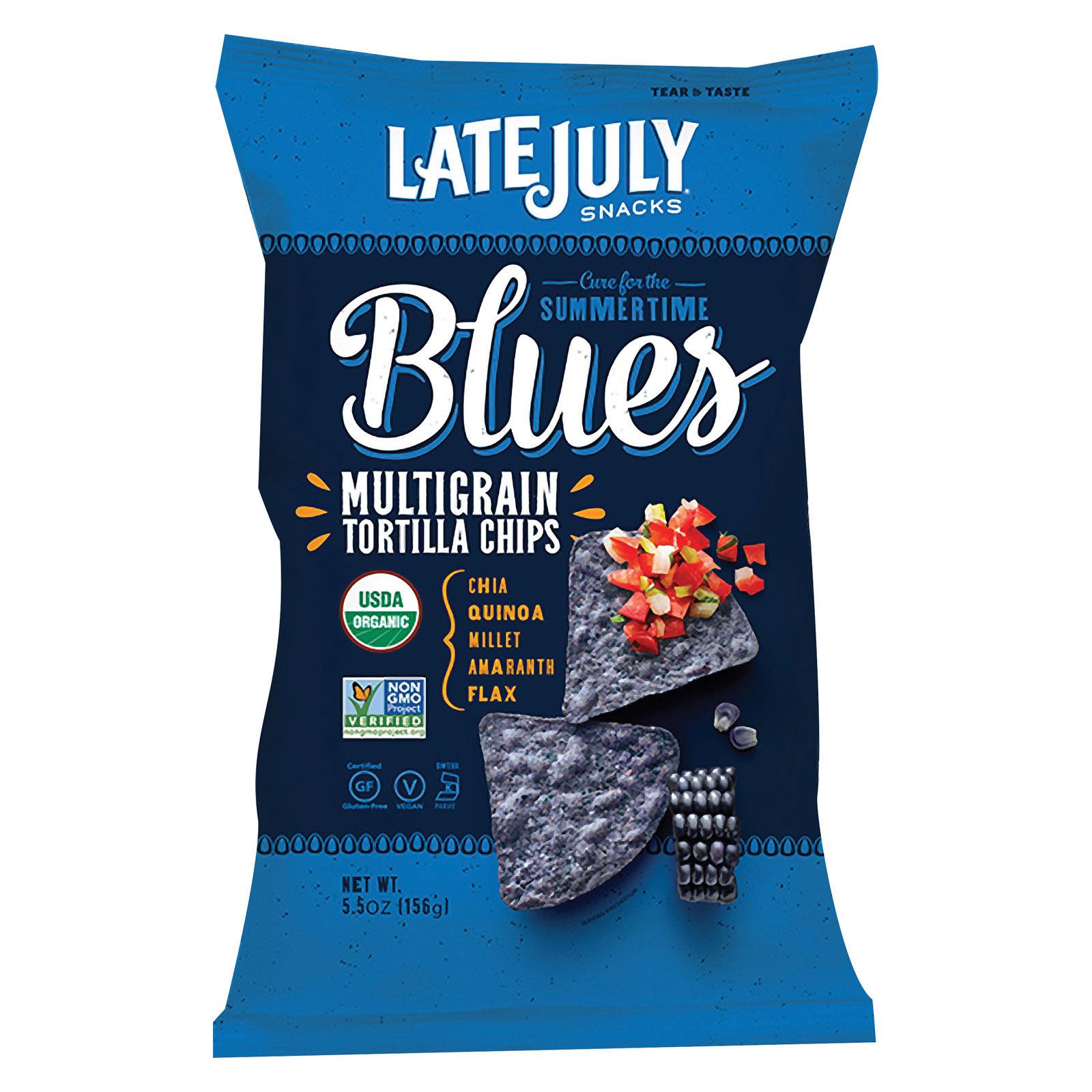 Late July Snacks Organic Multigrain Snack Chips - Summertime Blues - Case of 12 - 5.5 oz.