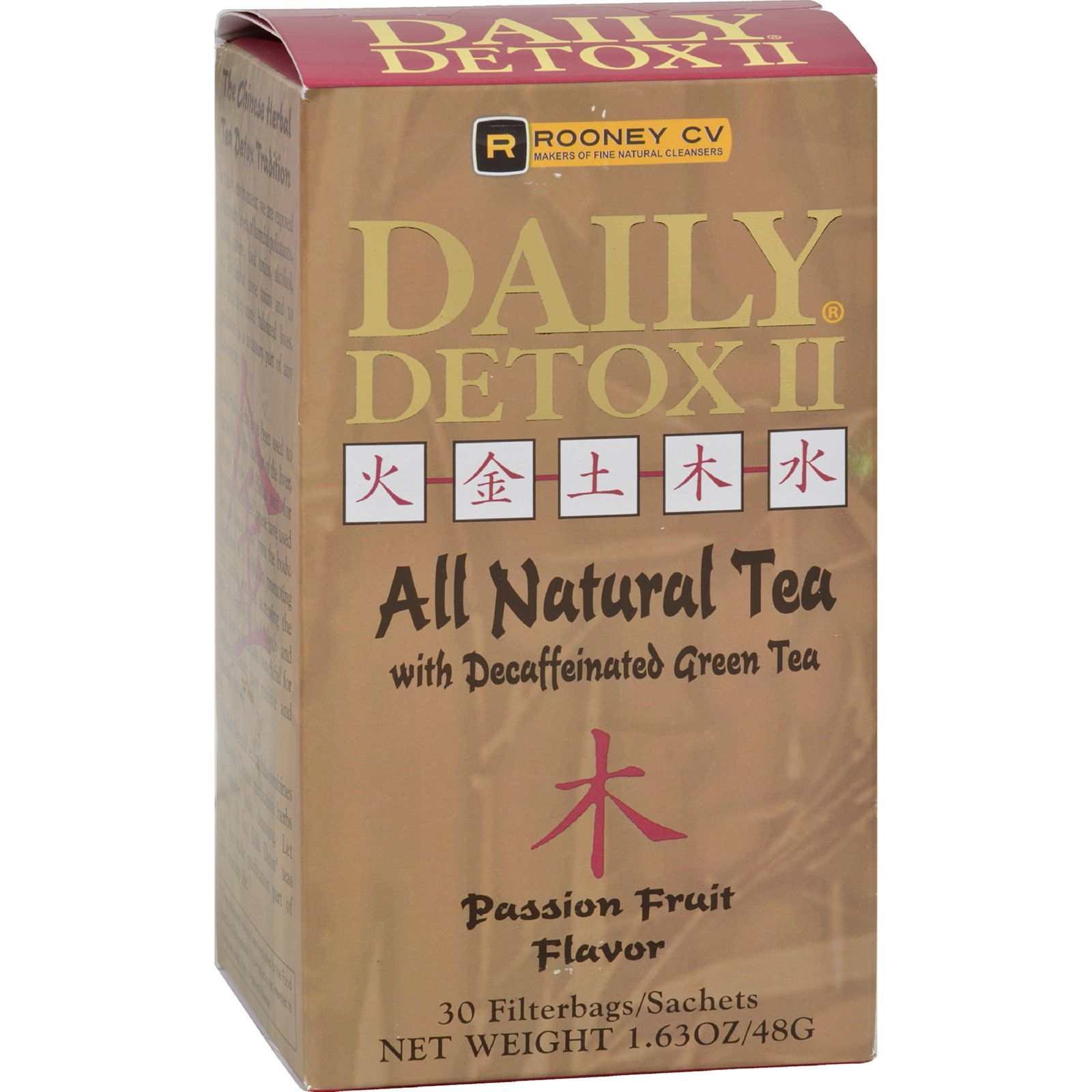 Wellements Rooney CV Daily Detox II All Natural Decaffeinated Tea Passion Fruit - 30 Sachet