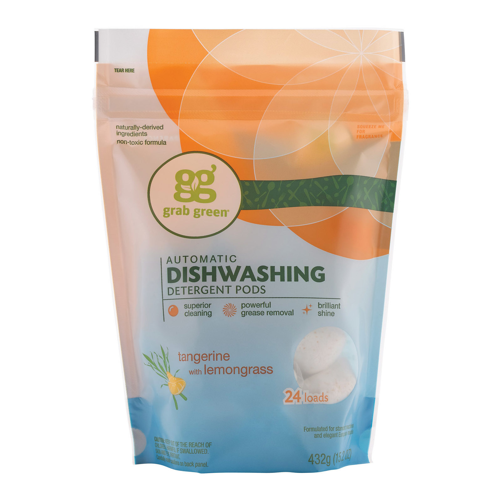 Grab Green Automatic Dishwasher - Tangerine with Lemongrass - Case of 6 - 24 Count