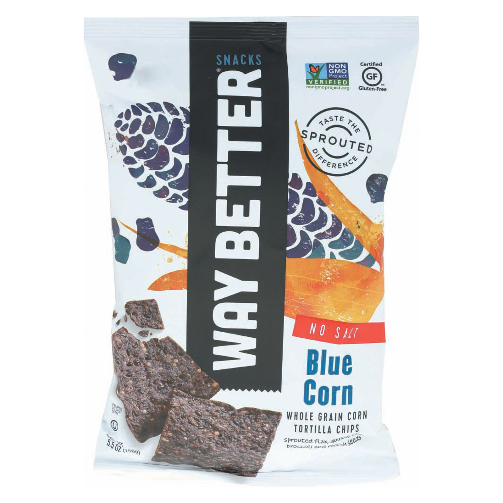 Way Better Snacks Tortilla Chips - No Salt Blue Corn - Case of 12 - 5.5 oz.