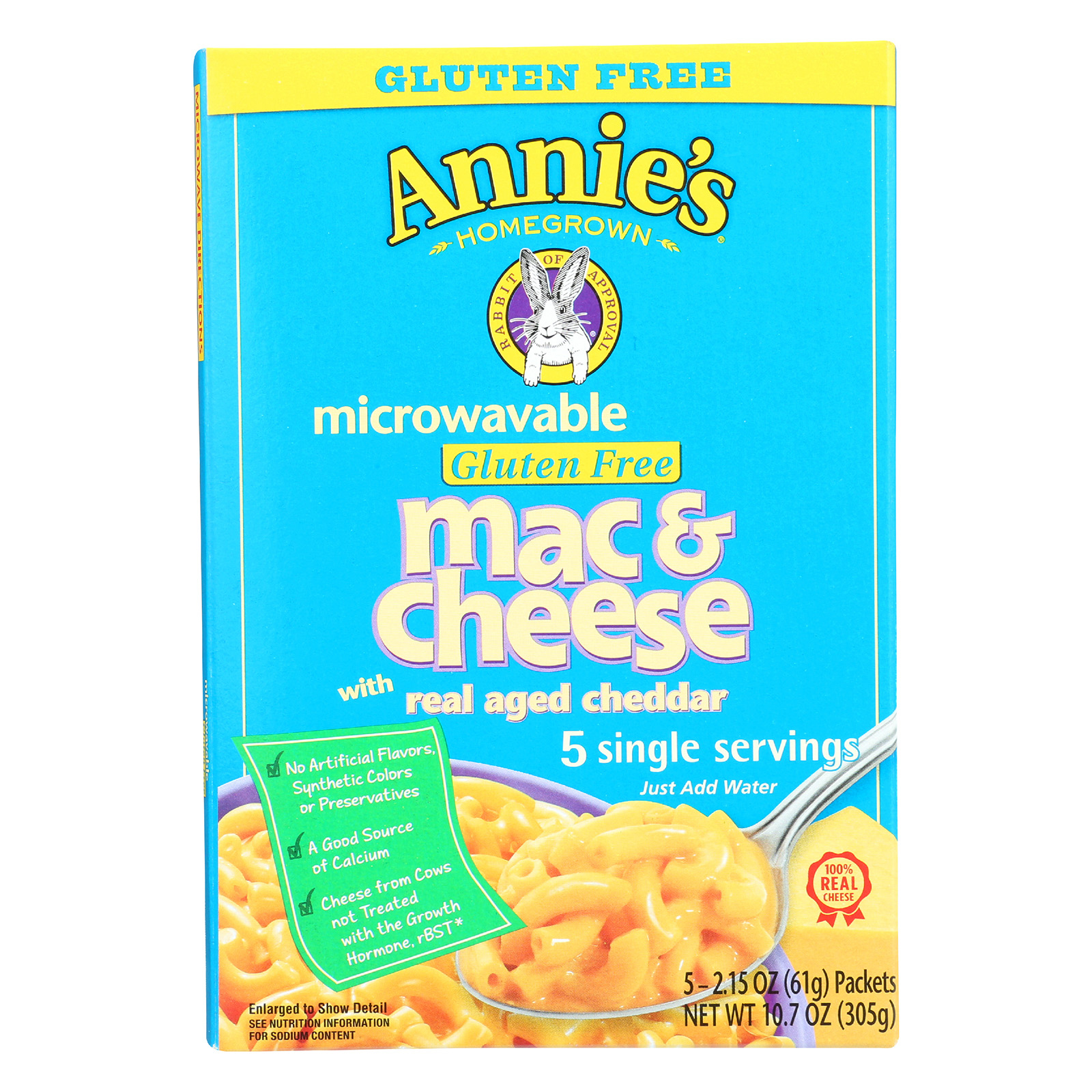 Annie's Homegrown Gluten Free Microwavable Mac and Cheese with Real Aged Cheddar - Case of 6 - 10.7 oz.