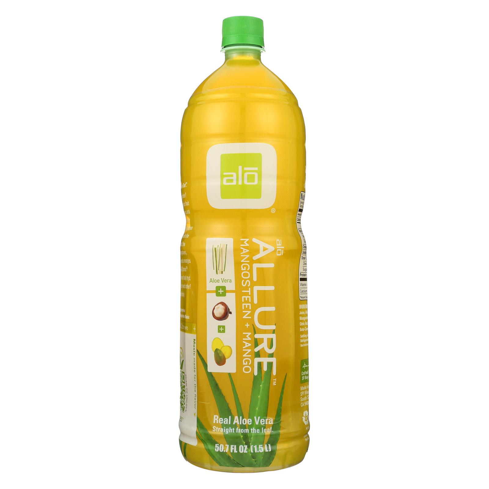 Alo Original Allure Aloe Vera Juice Drink - Mangosteen and Mango - Case of 6 - 50.7 fl oz.