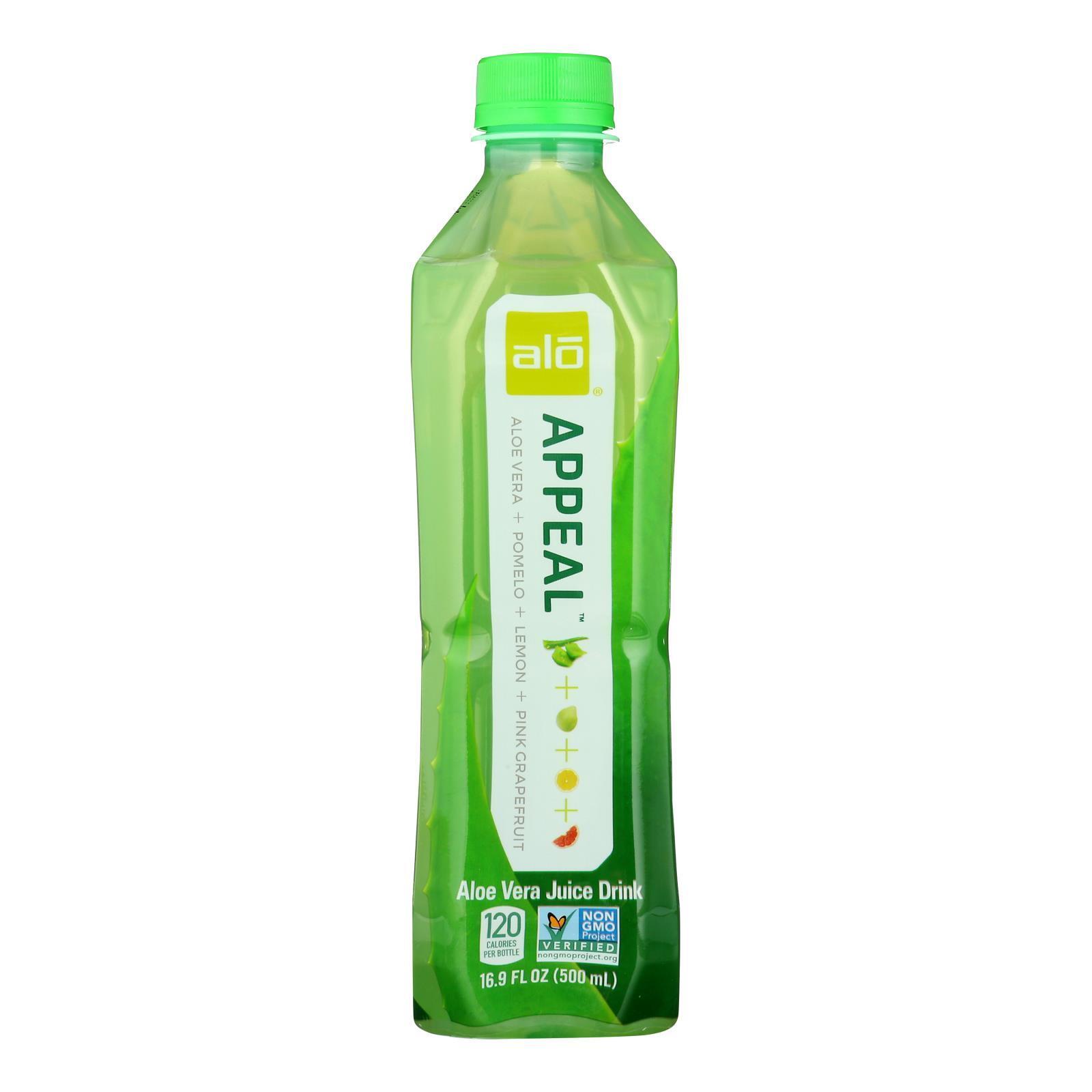 Alo Original Appeal Aloe Vera Juice Drink - Pomelo, Lemon and Pink Grapefruit - Case of 12 - 16.9 fl oz.