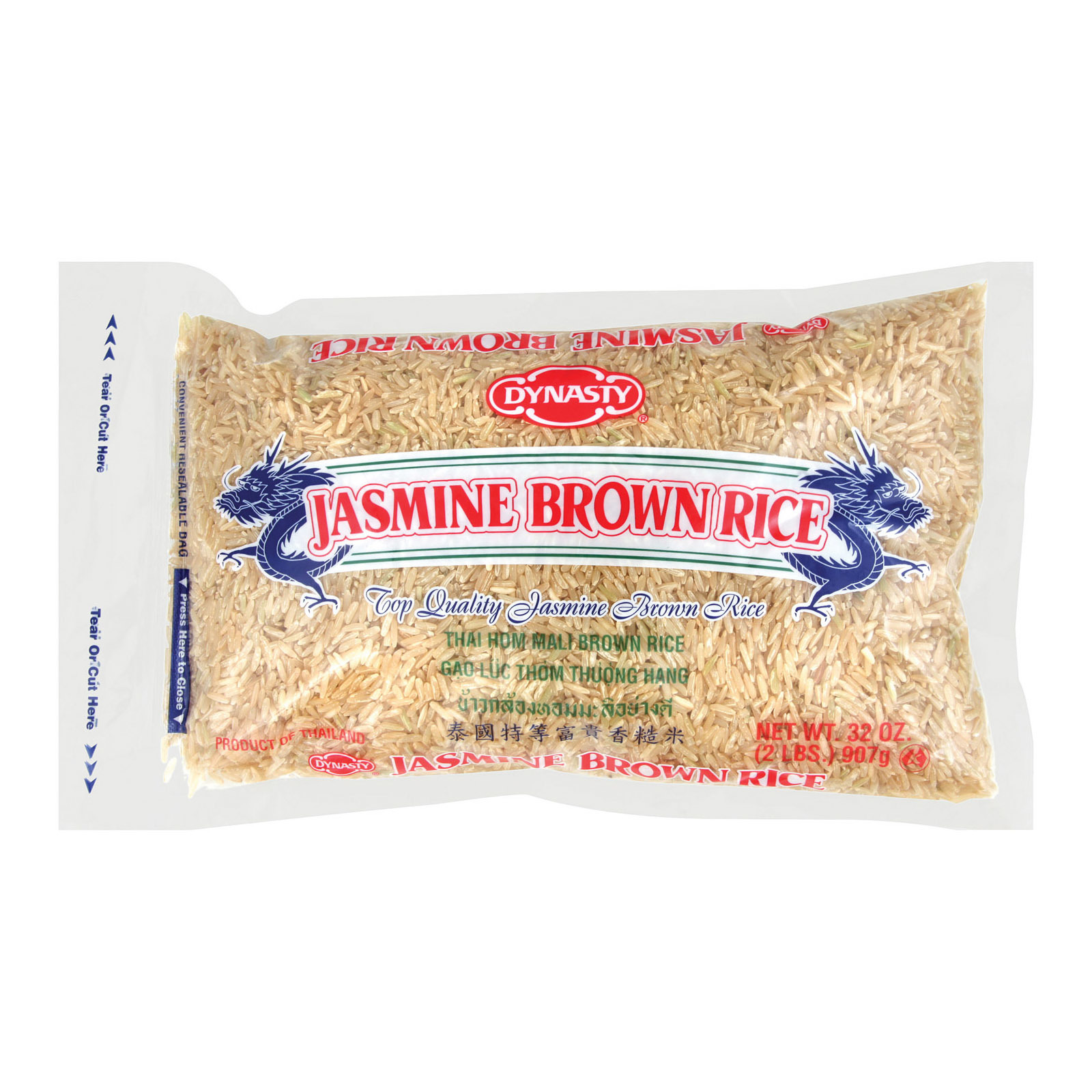 Dynasty Rice - Jasmine - Brown - Case of 12 - 2 lb.