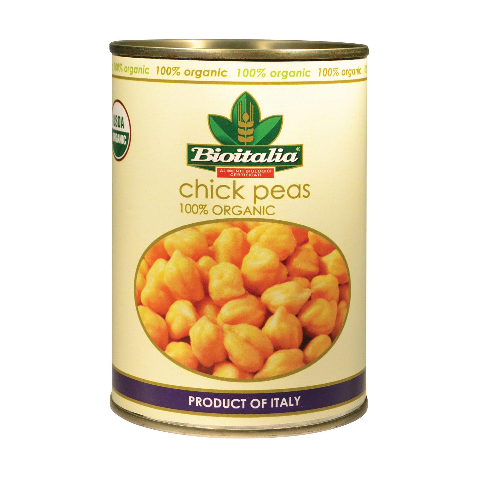 Bioitalia Organic Beans - Chick Peas - Case of 12 - 14 oz.