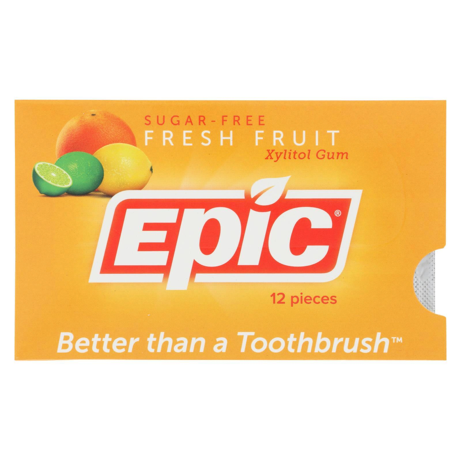 Epic Dental Gum - Xylitol - Fresh Fruit - 12 Count - 1 Case