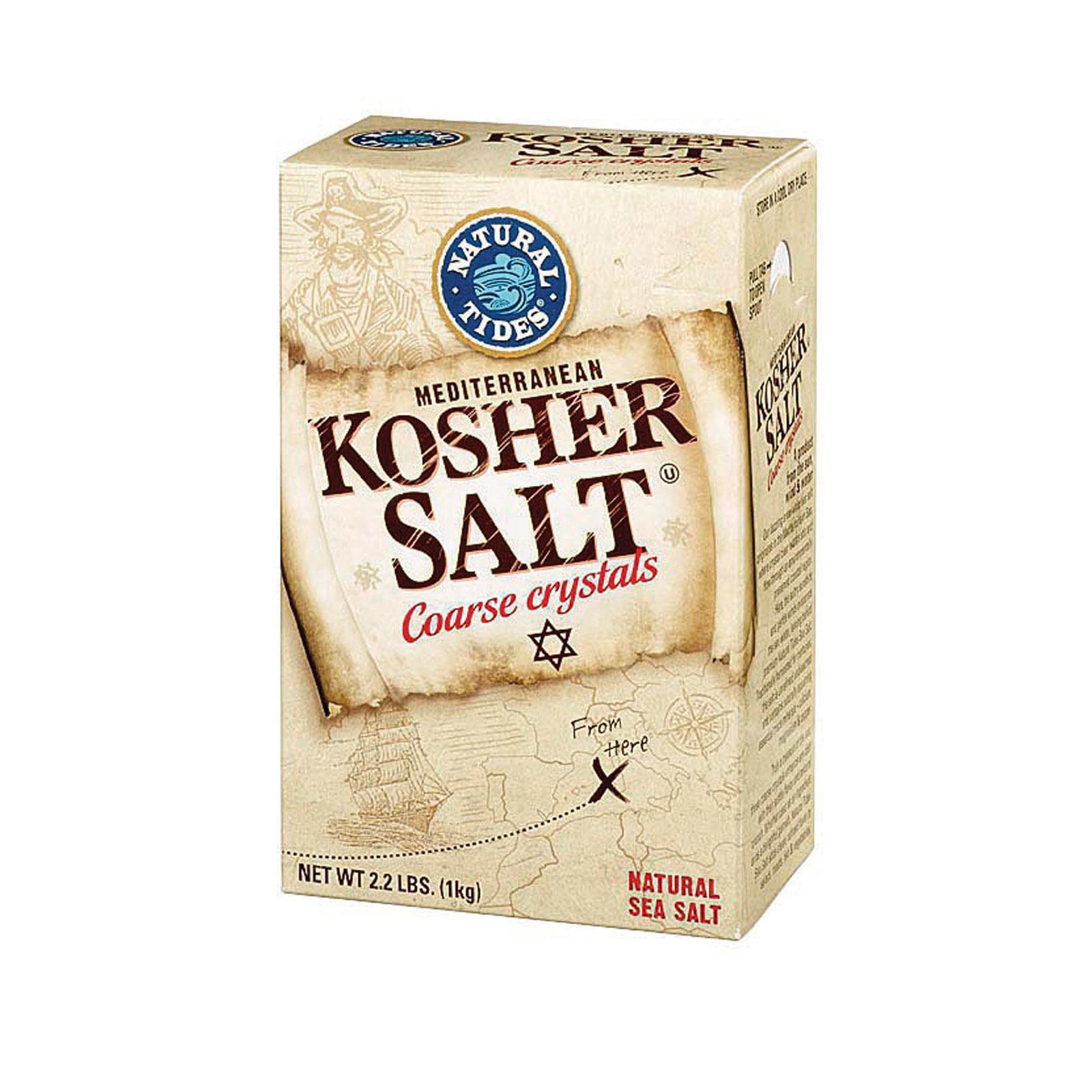 Natural Tides Mediterranean Kosher Salt - Coarse Crystals - Case of 6 - 2.2