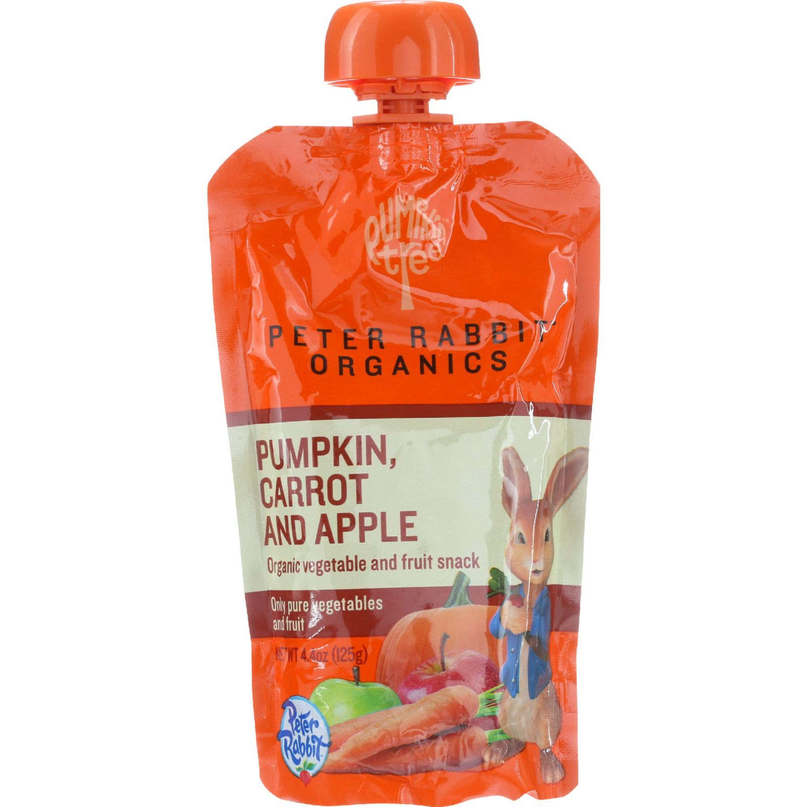 Peter Rabbit Organics Baby Food - Organic - Vegetable and Fruit Puree - Pumpkin Carrot and Apple - 4.4 oz - case of 10