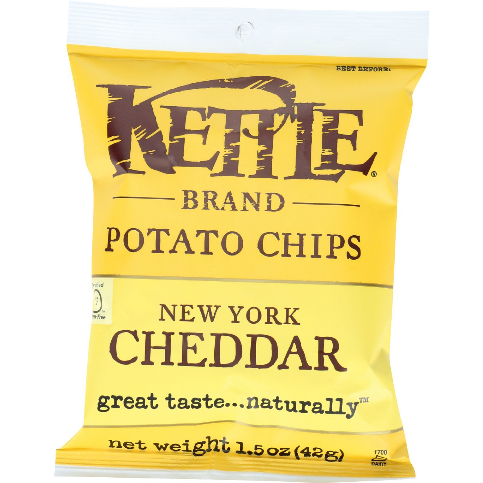 Kettle Brand Potato Chips - New York Cheddar - 1.5 oz - case of 24