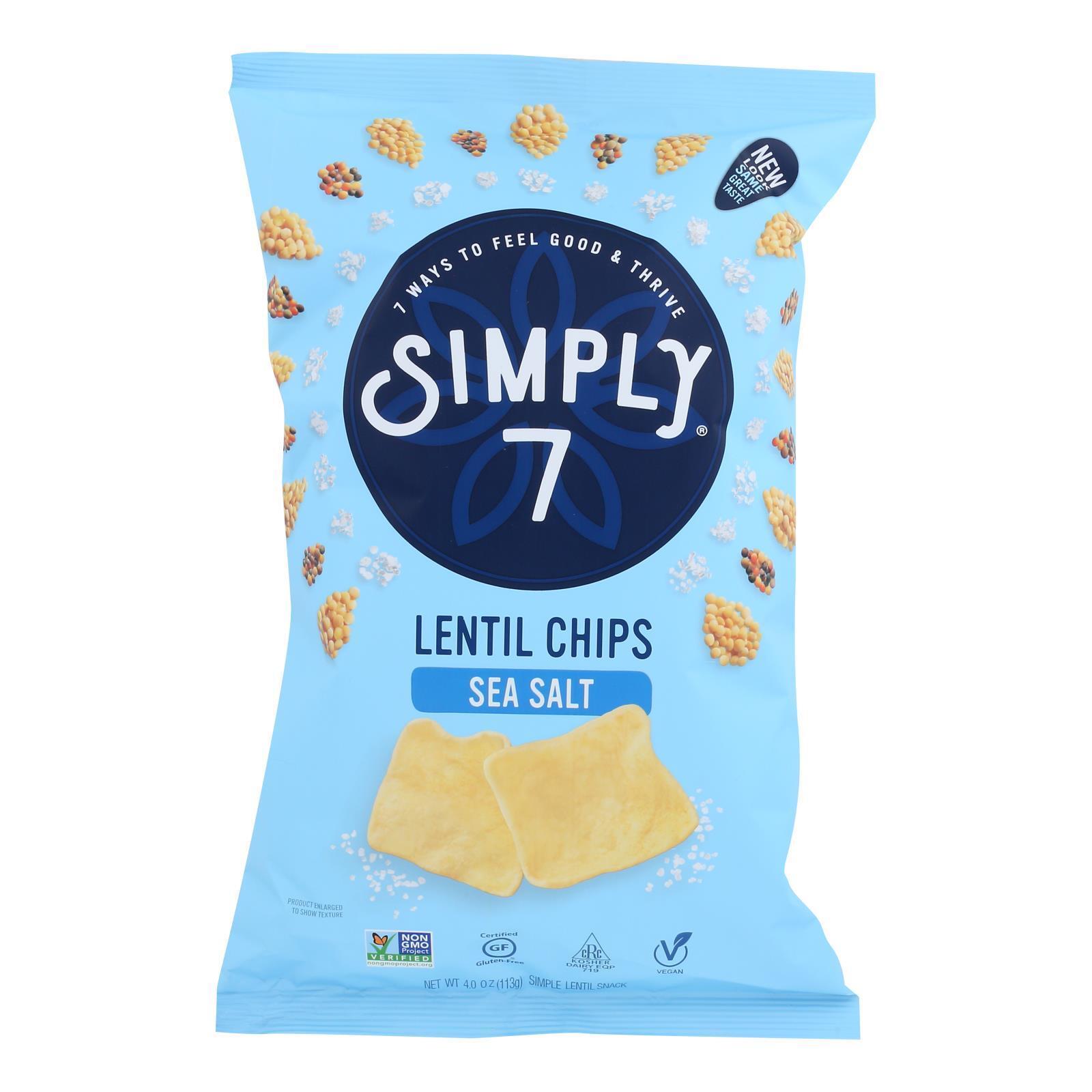 Simply 7 Lentil Chips - Sea Salt - Case of 12 - 4 oz.