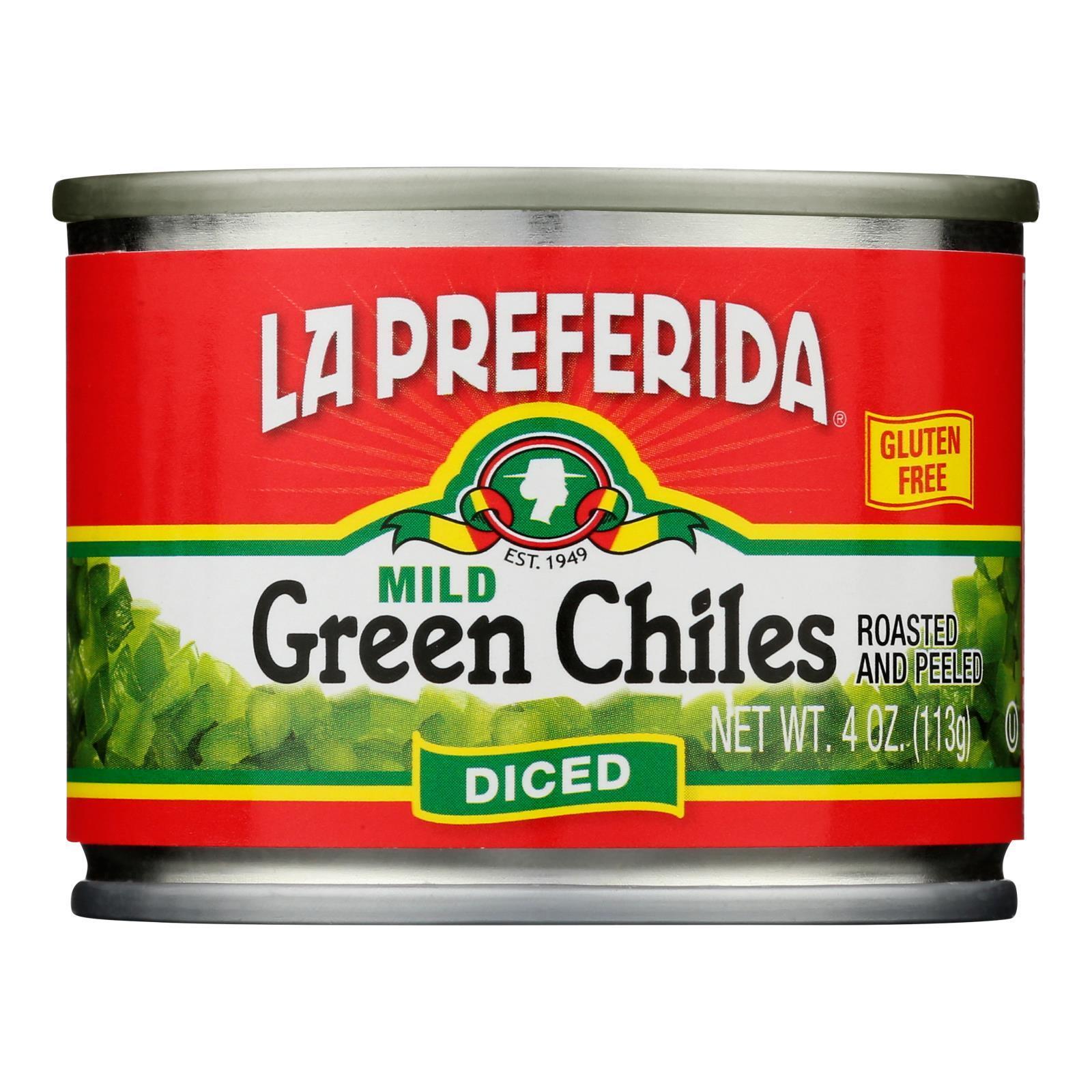 La Preferida Green Chiles - Diced - Case of 24 - 4 oz.