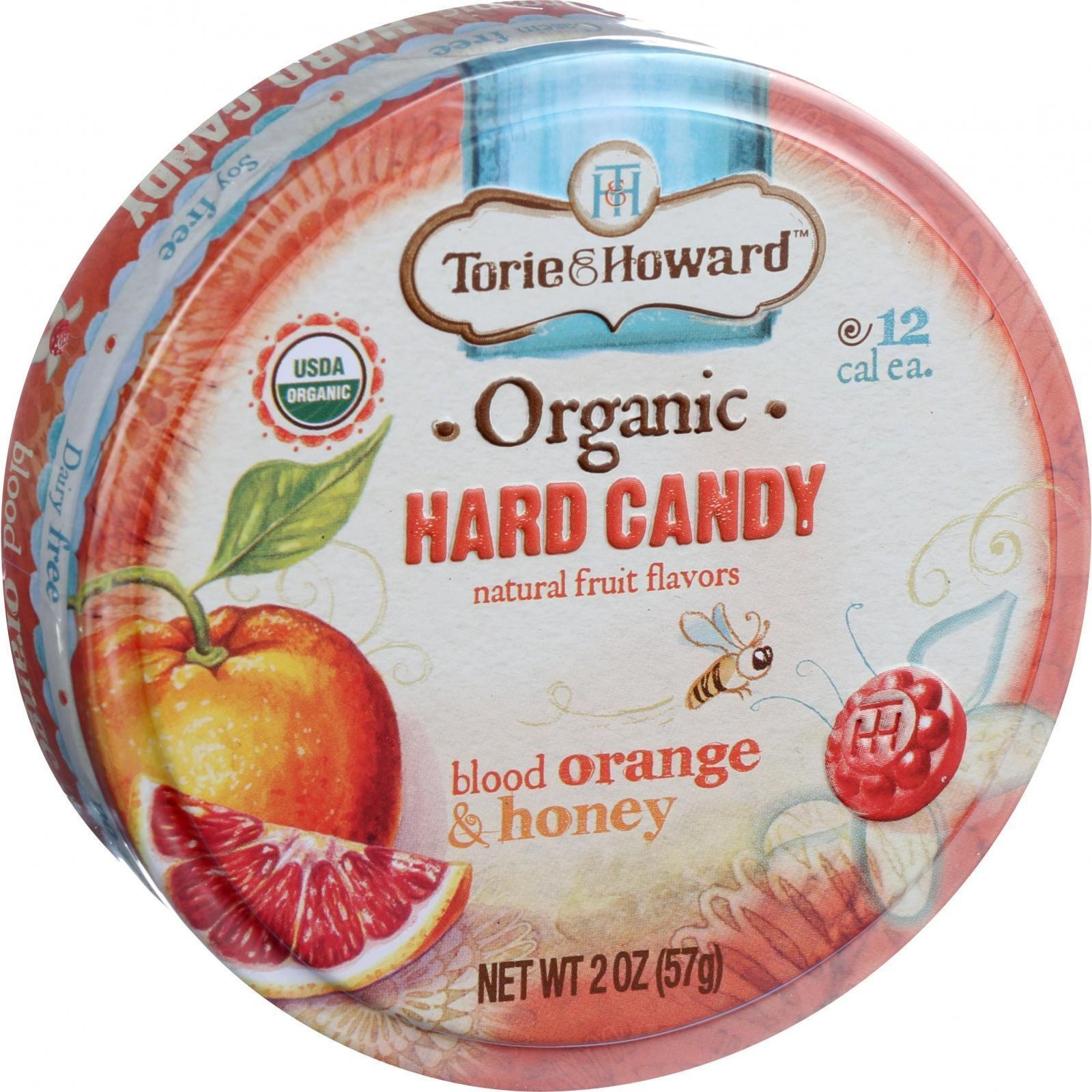 Torie and Howard Organic Hard Candy - Blood Orange and Honey - 2 oz - Case of 8