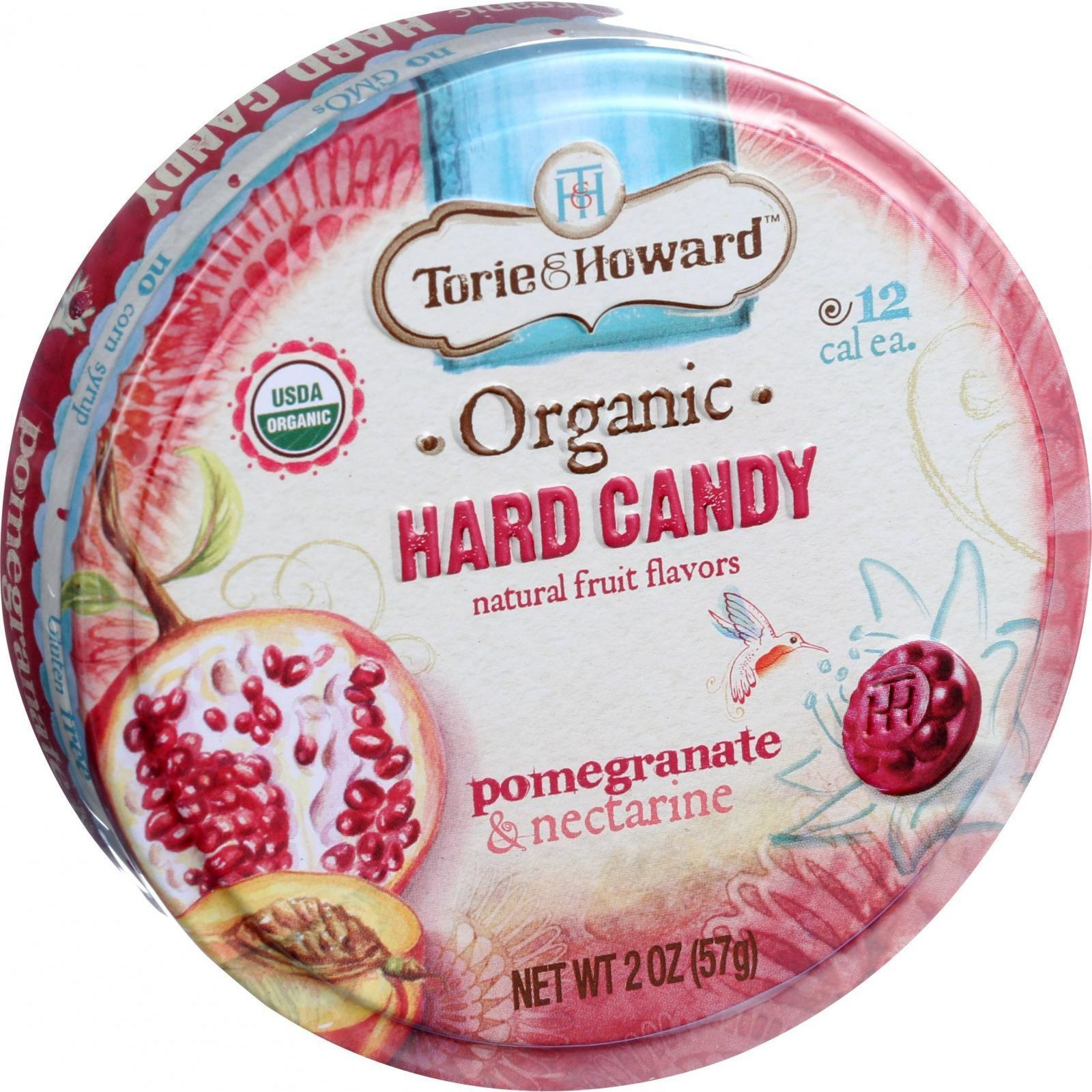 Torie and Howard Organic Hard Candy - Pomegranate and Nectarine - 2 oz - Case of 8