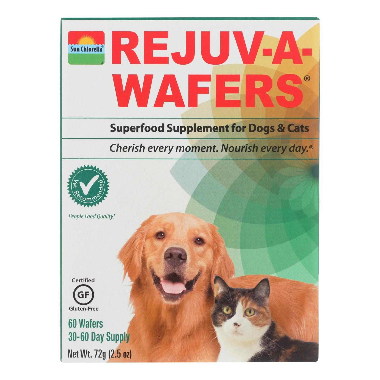 Sun Chlorella Rejuv-A-Wafers Superfood Supplement for Dogs and Cats - 60 Wafers